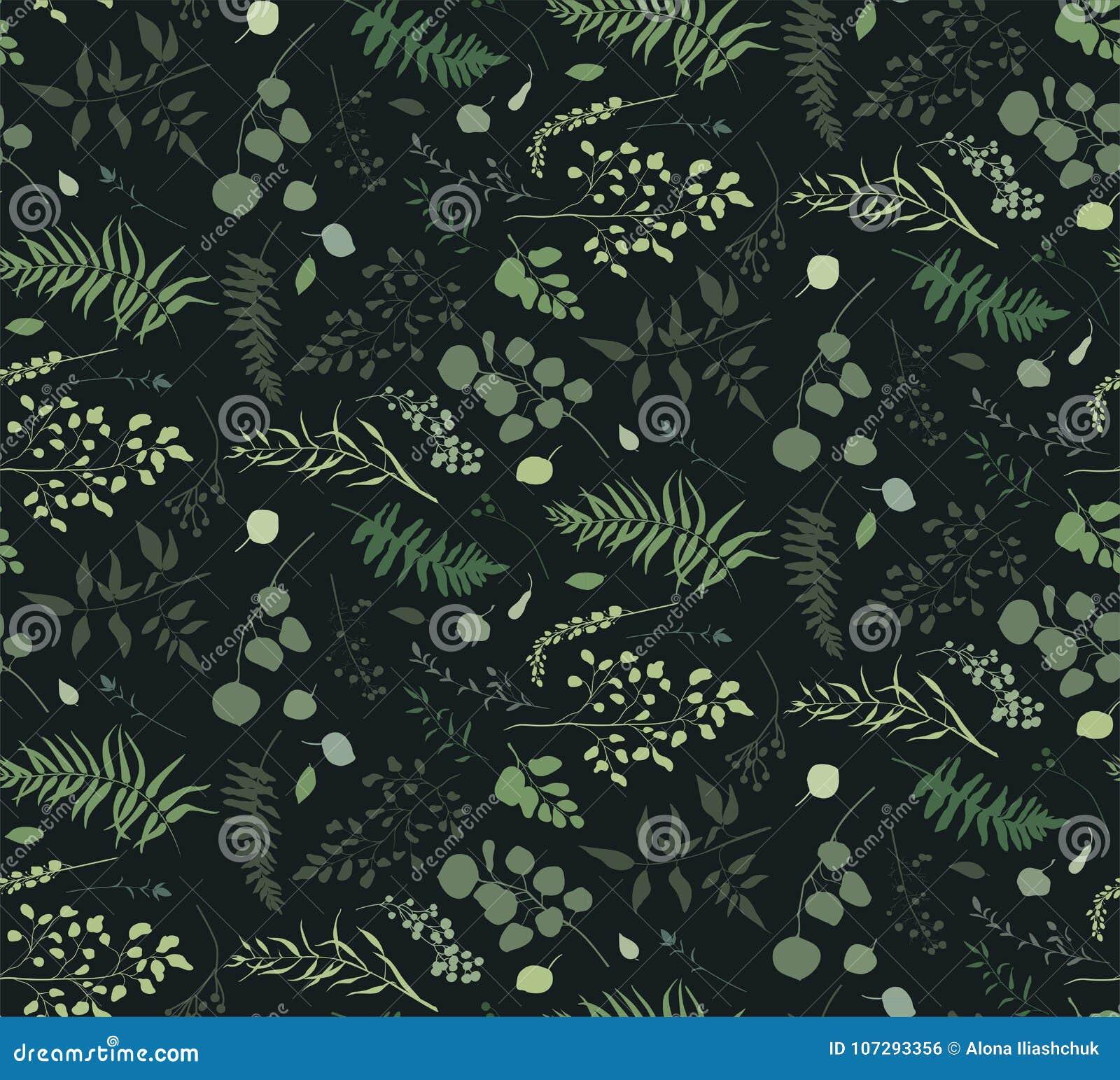Modelo inconsútil árbol del helecho de la palma del eucalipto de diverso, follaje