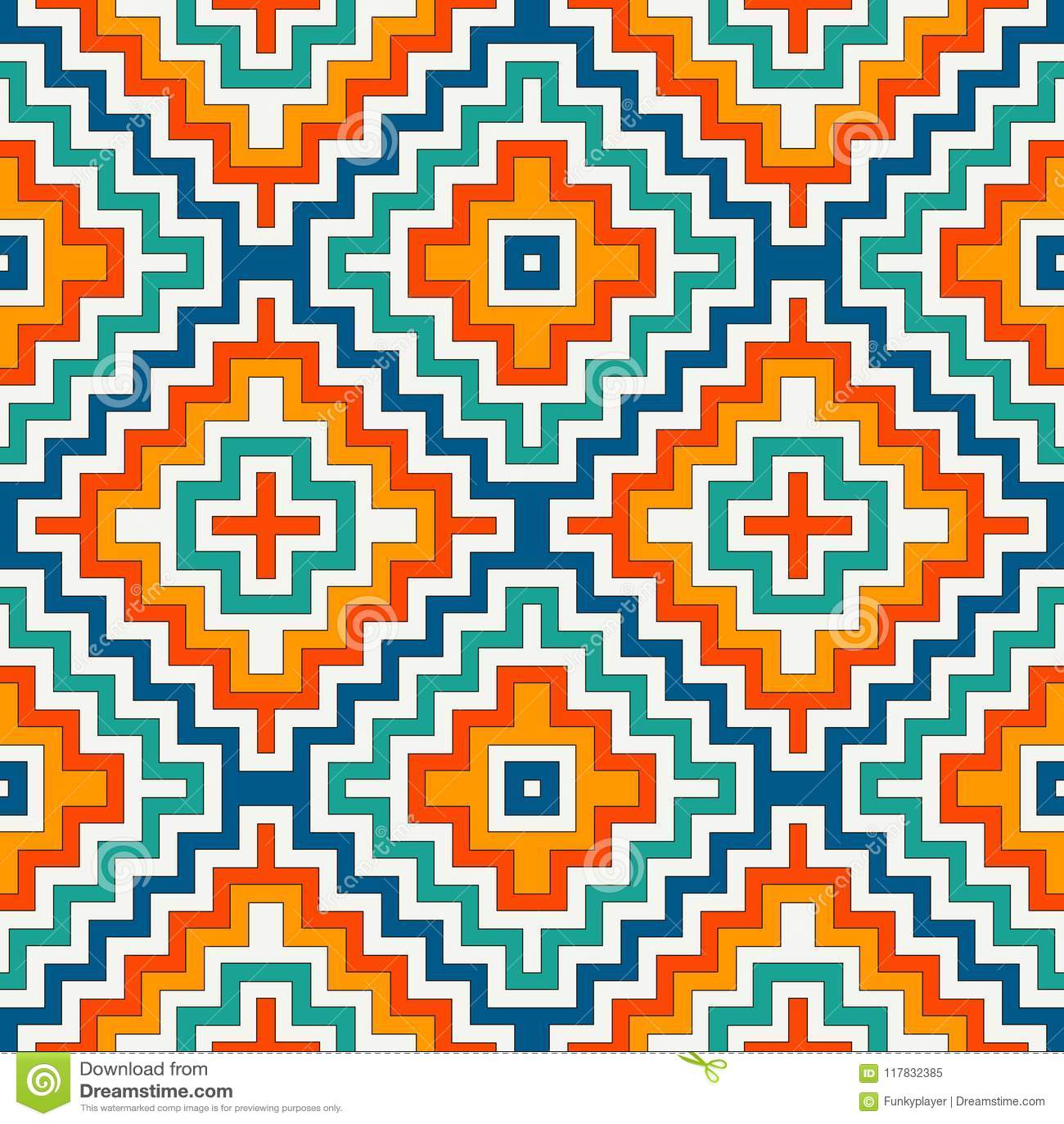 Modelo inconsútil étnico con las líneas del galón Fondo del ornamental de los nativos americanos Adorno tribal Papel digital de B
