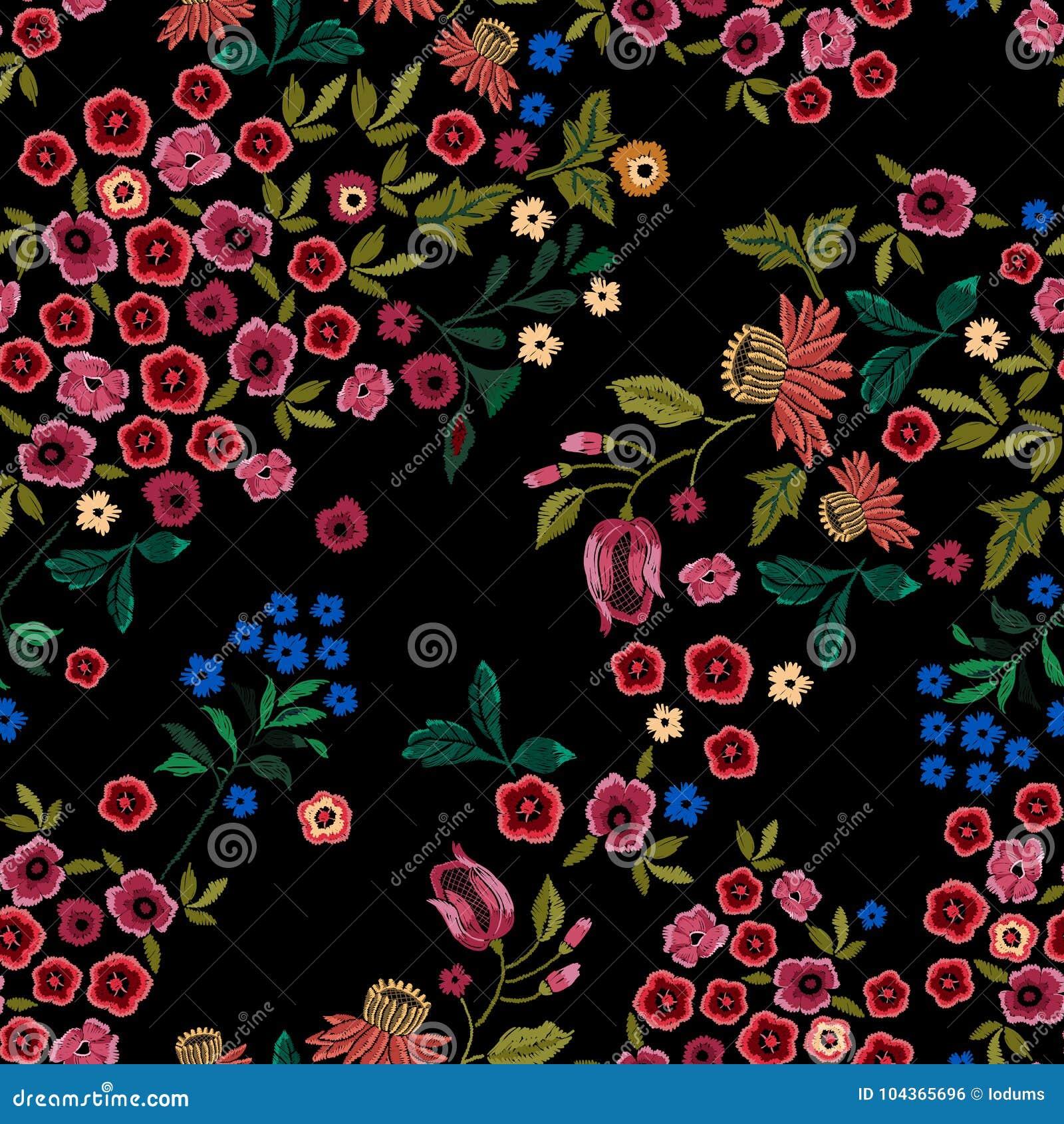 Modelo inconsútil étnico del bordado con las pequeñas flores salvajes