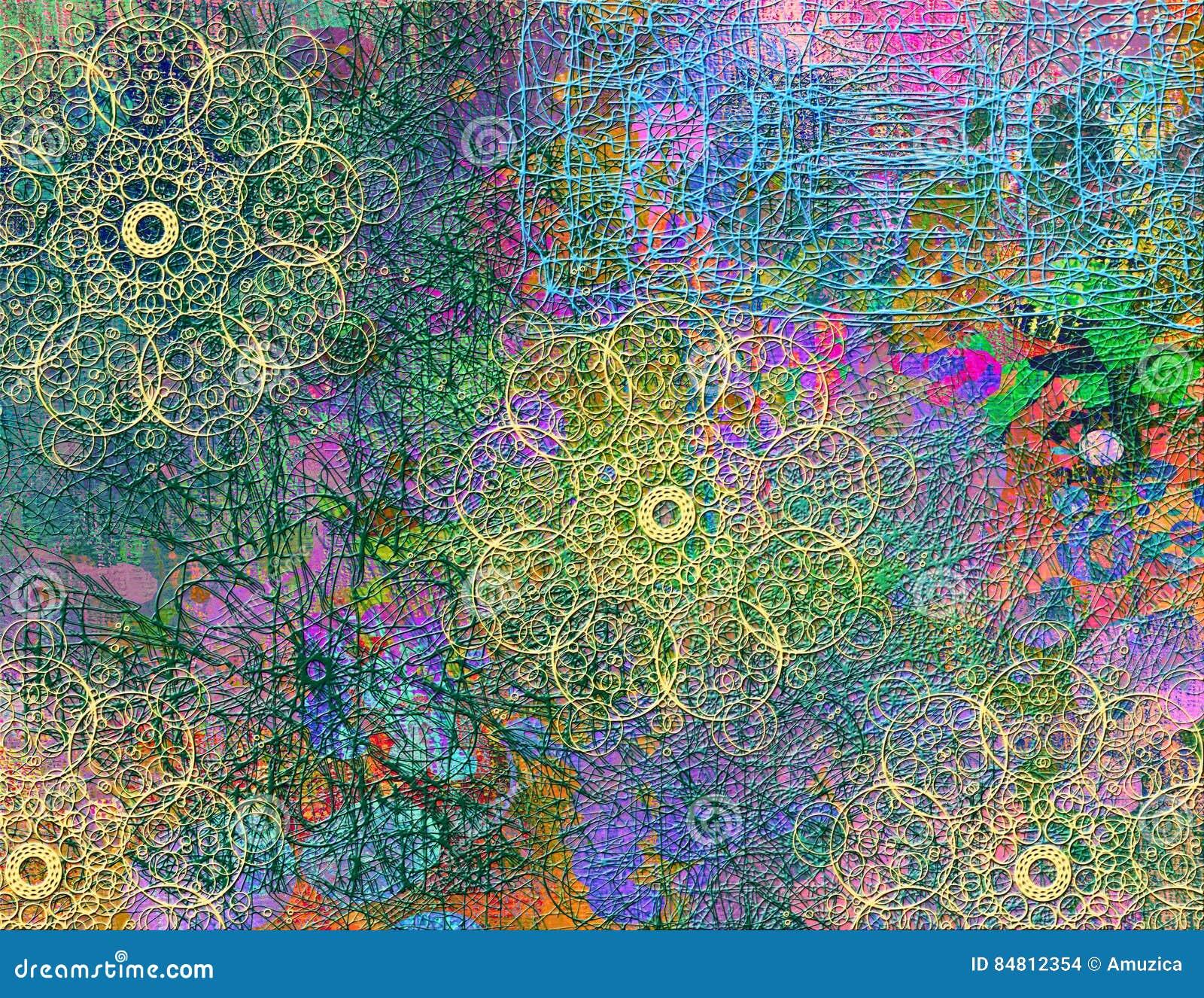 Modelo inconsútil abstracto con la línea caótica y diversos elementos de color