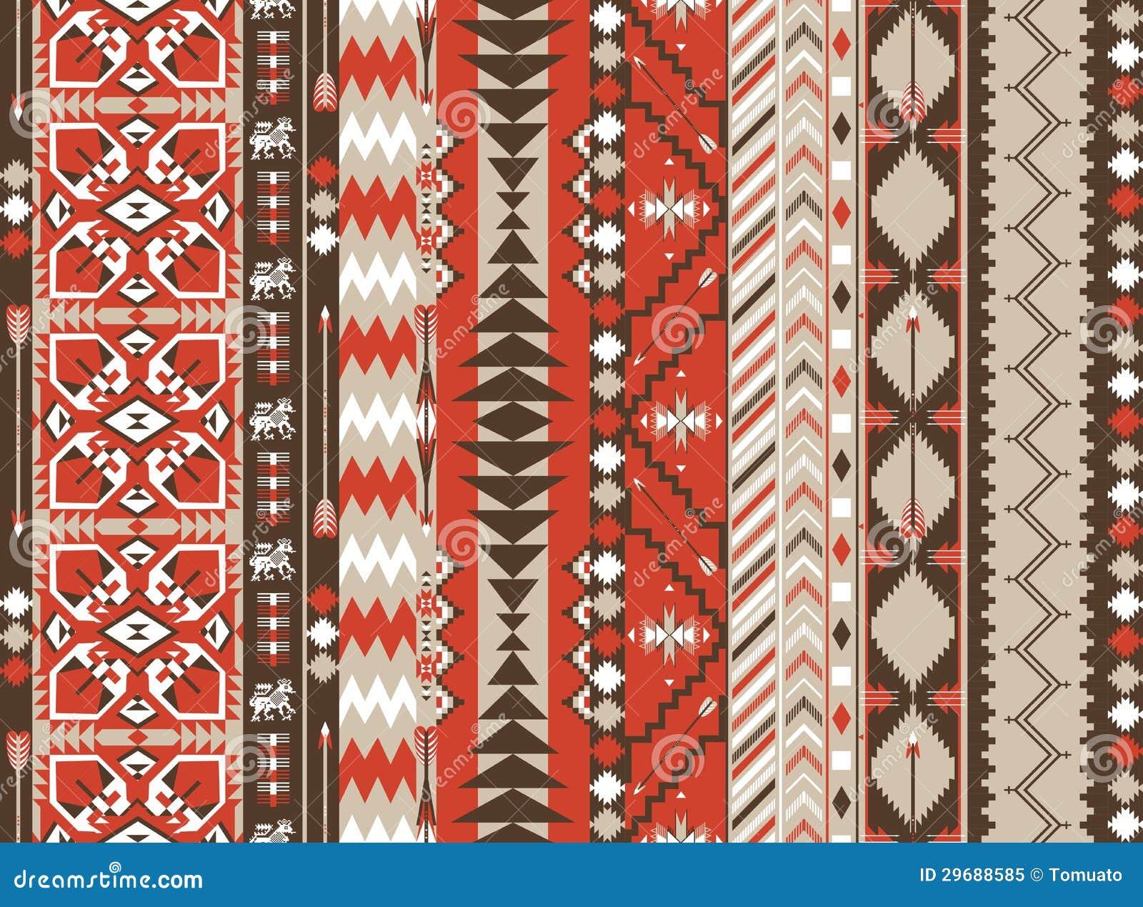 Modelo Inconsútil Azteca En Color Caliente Con La Flecha Stock De