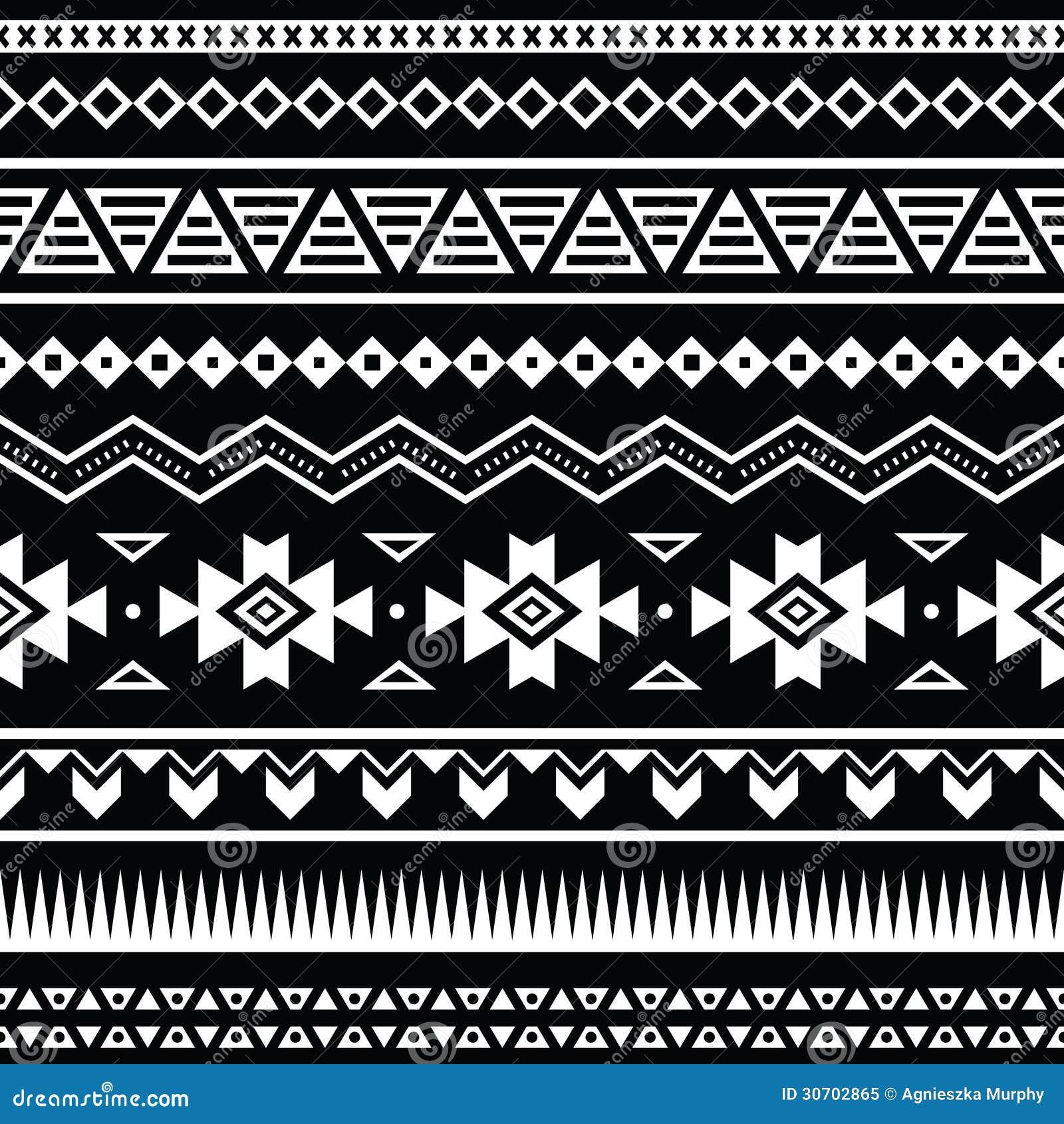 Modelo inconsútil azteca, fondo blanco y negro tribal