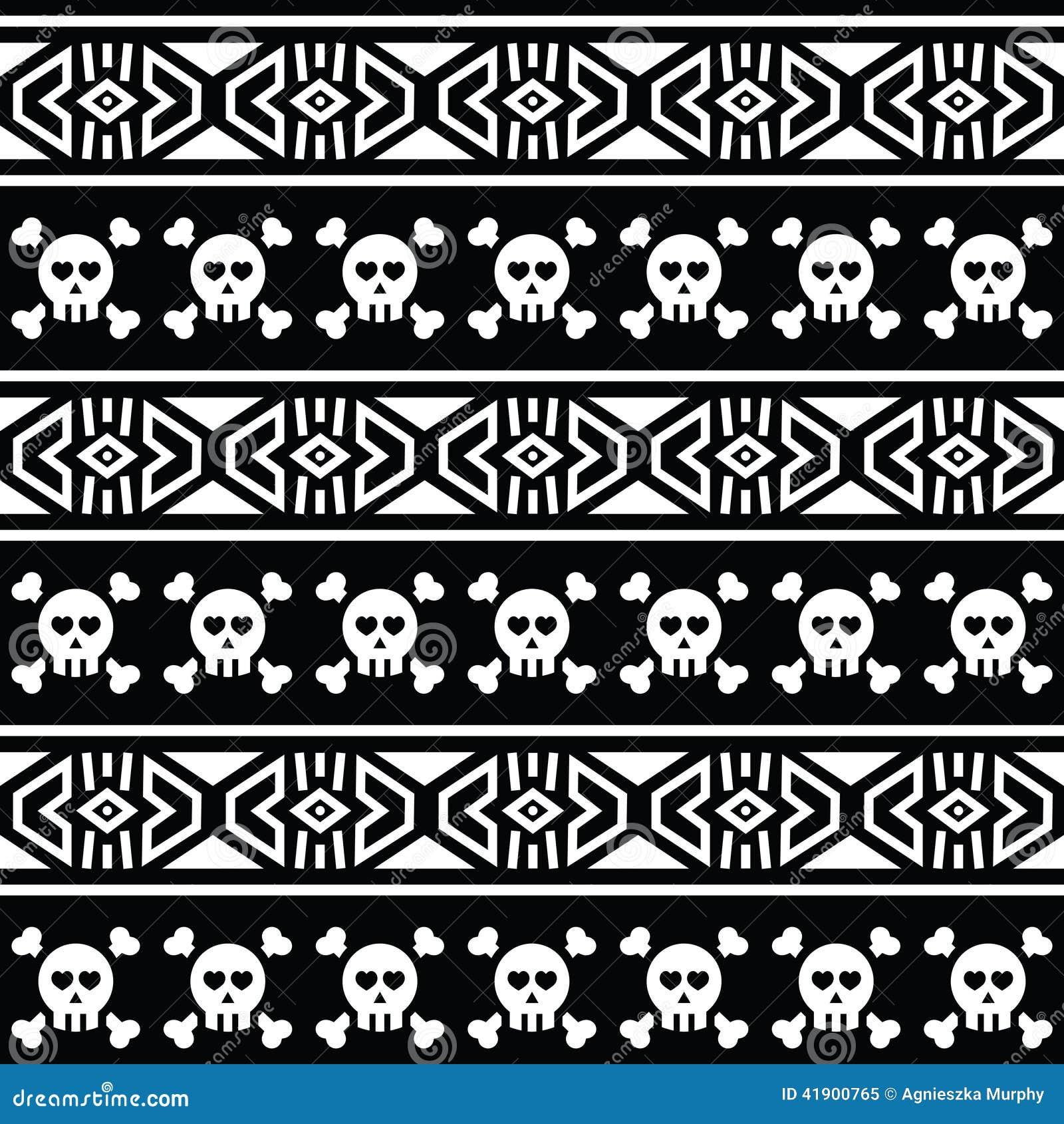 Modelo inconsútil azteca tribal con el cráneo en negro