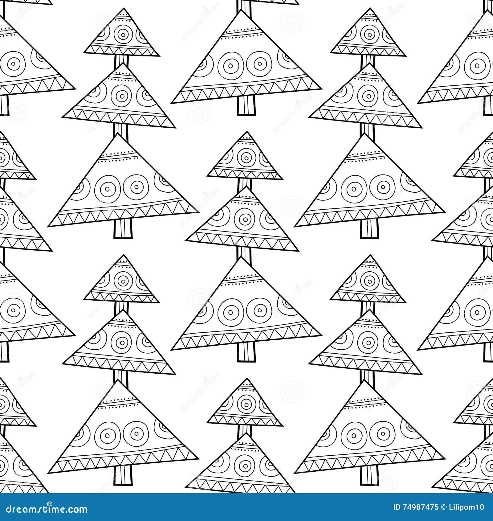 Modelo Inconsútil Blanco Y Negro Con Los árboles De Navidad Para