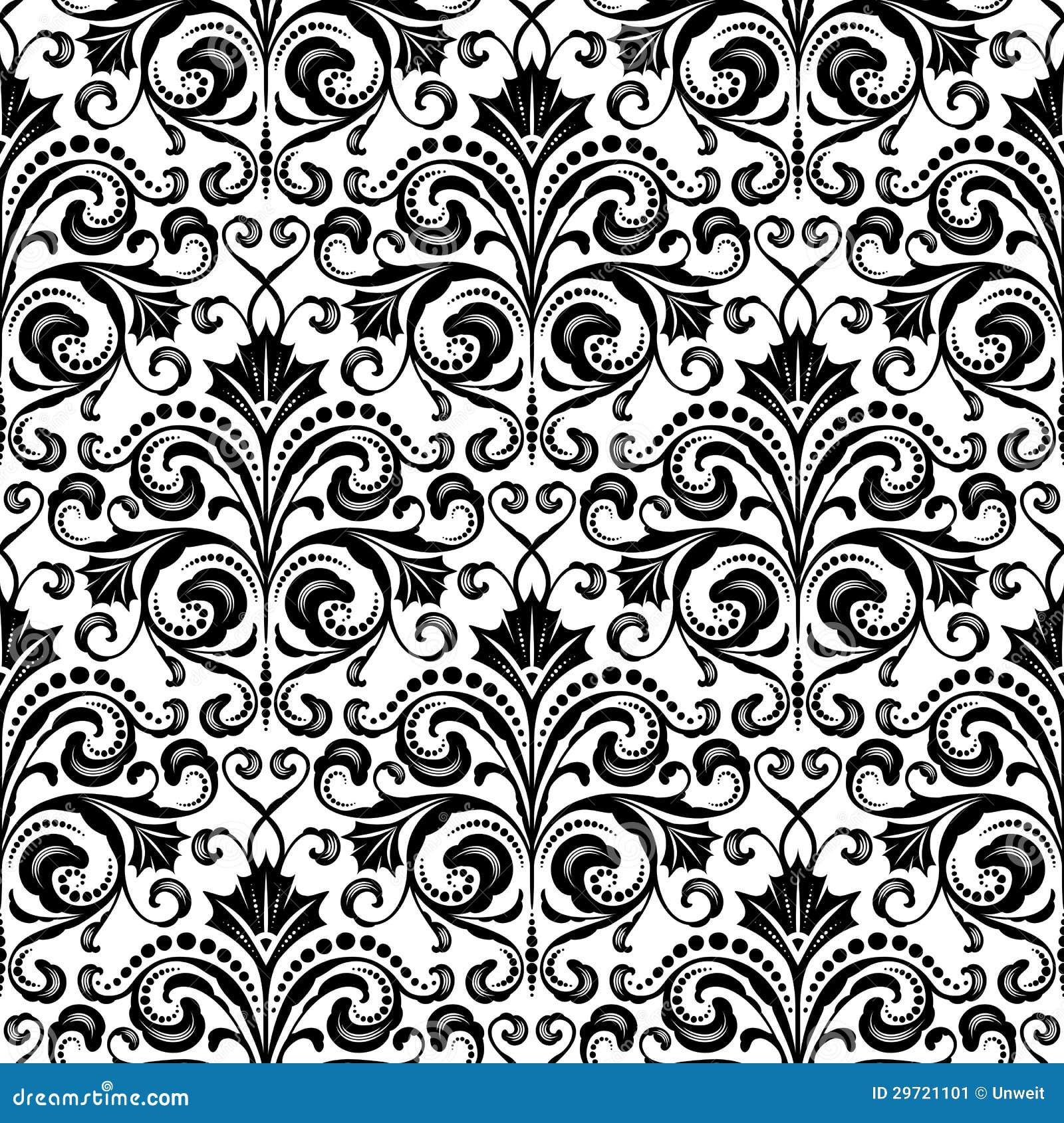 Estampado de flores incons til ilustraci n del vector for Papel pintado blanco y negro