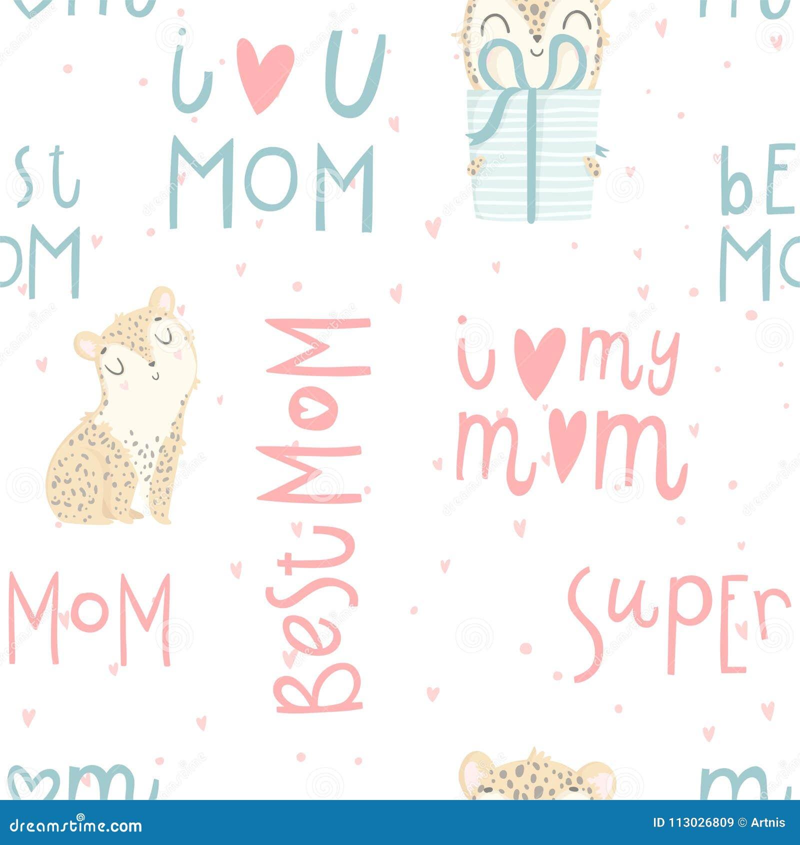 Modelo inconsútil brillante con el leopardo lindo del bebé, letras de día dibujadas mano del ` s de la madre