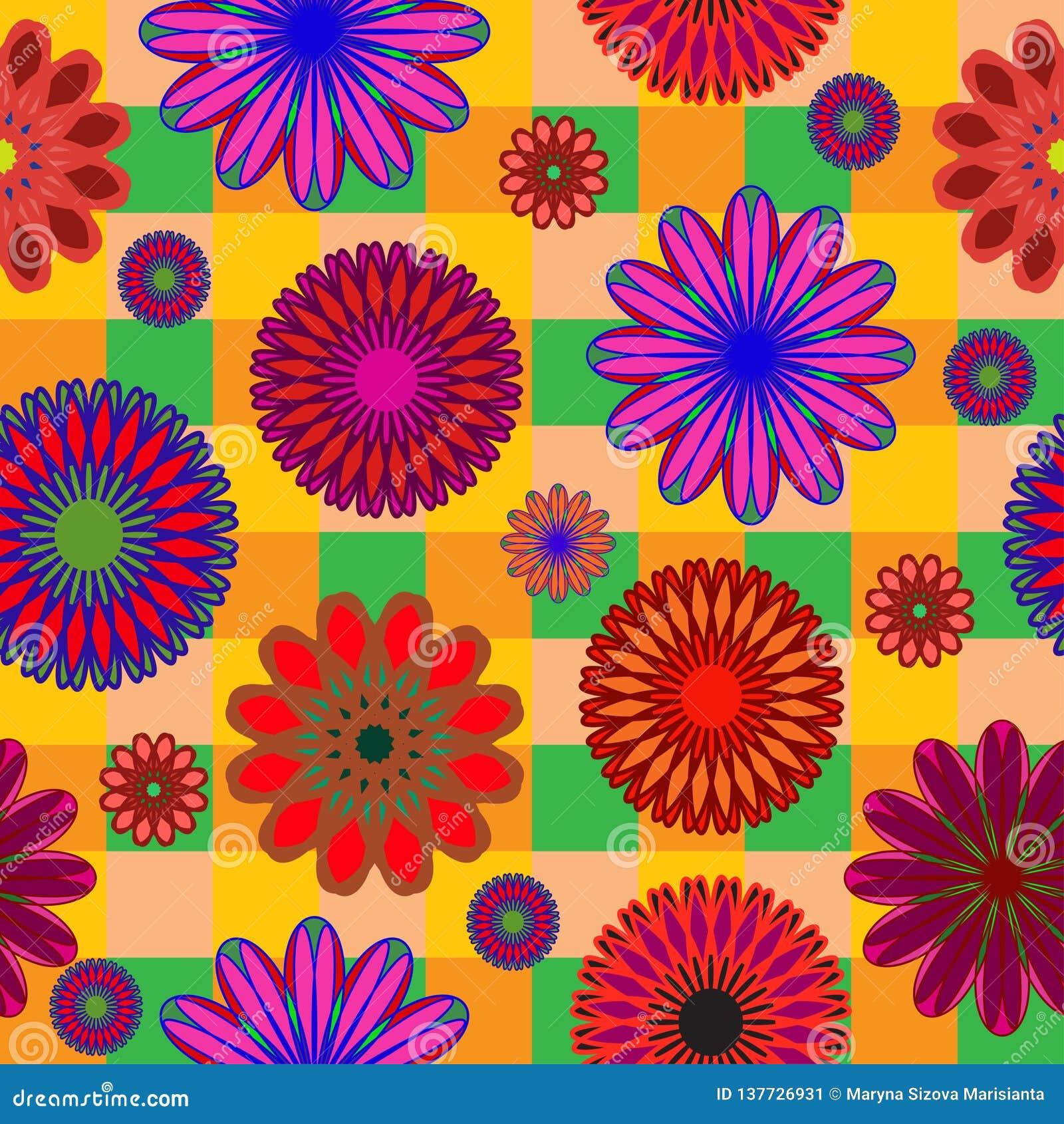Modelo inconsútil brillante de colores abstractos en fondo a cuadros