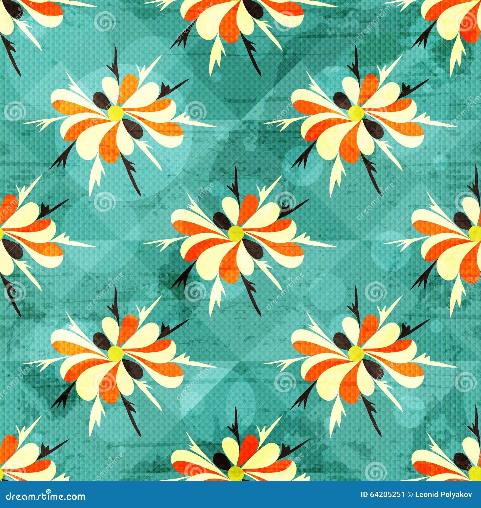 Modelo inconsútil coloreado hermoso de las flores abstractas
