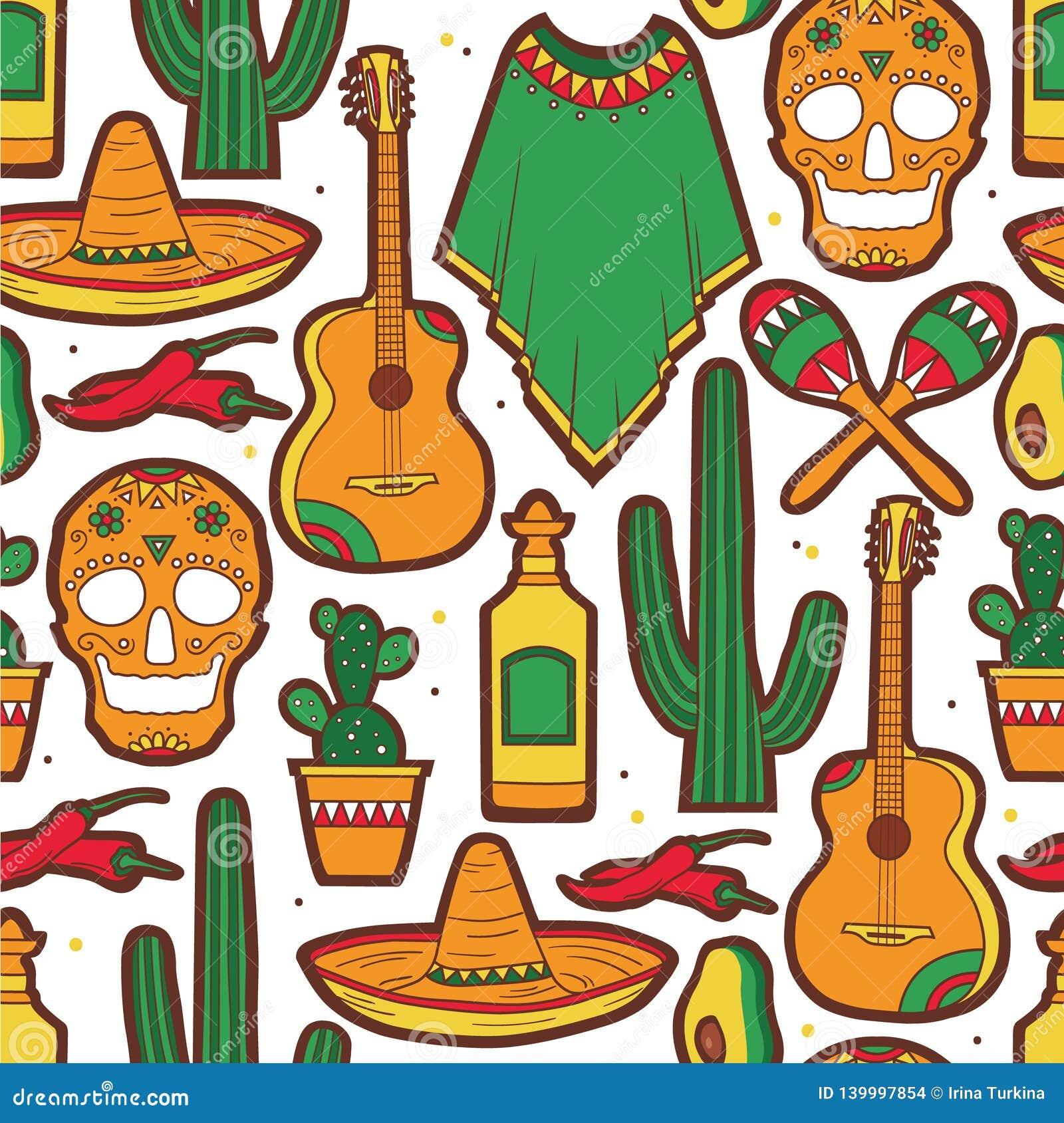 Modelo inconsútil colorido con la colección de símbolos mexicanos