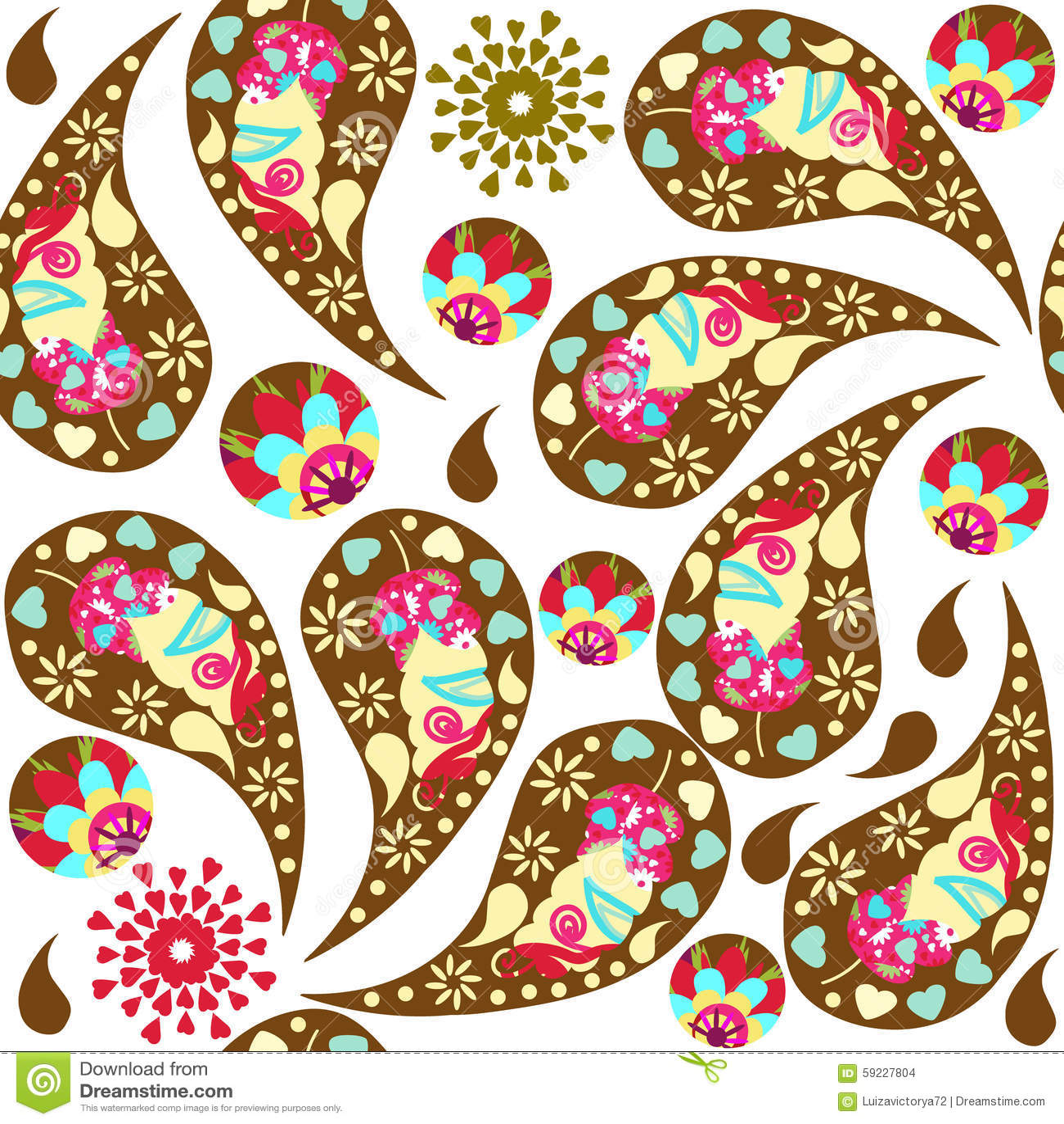 Download Modelo Inconsútil Colorido Floral De Paisley Y Modelo Inconsútil Adentro Ilustración del Vector - Ilustración de adornado, tela: 59227804