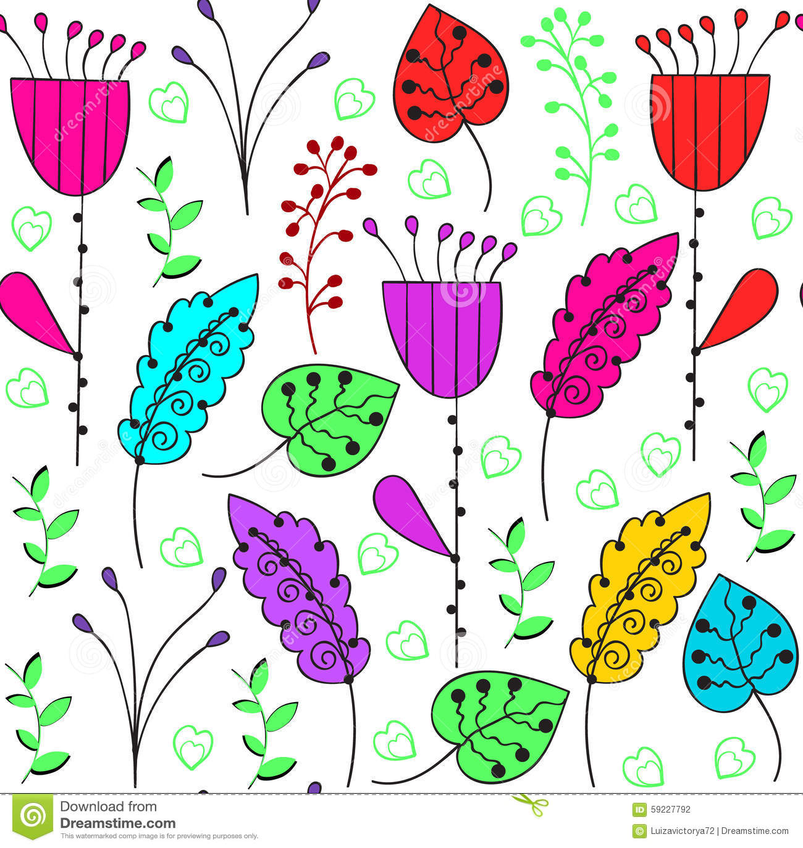 Modelo inconsútil colorido floral y modelo inconsútil en muestra