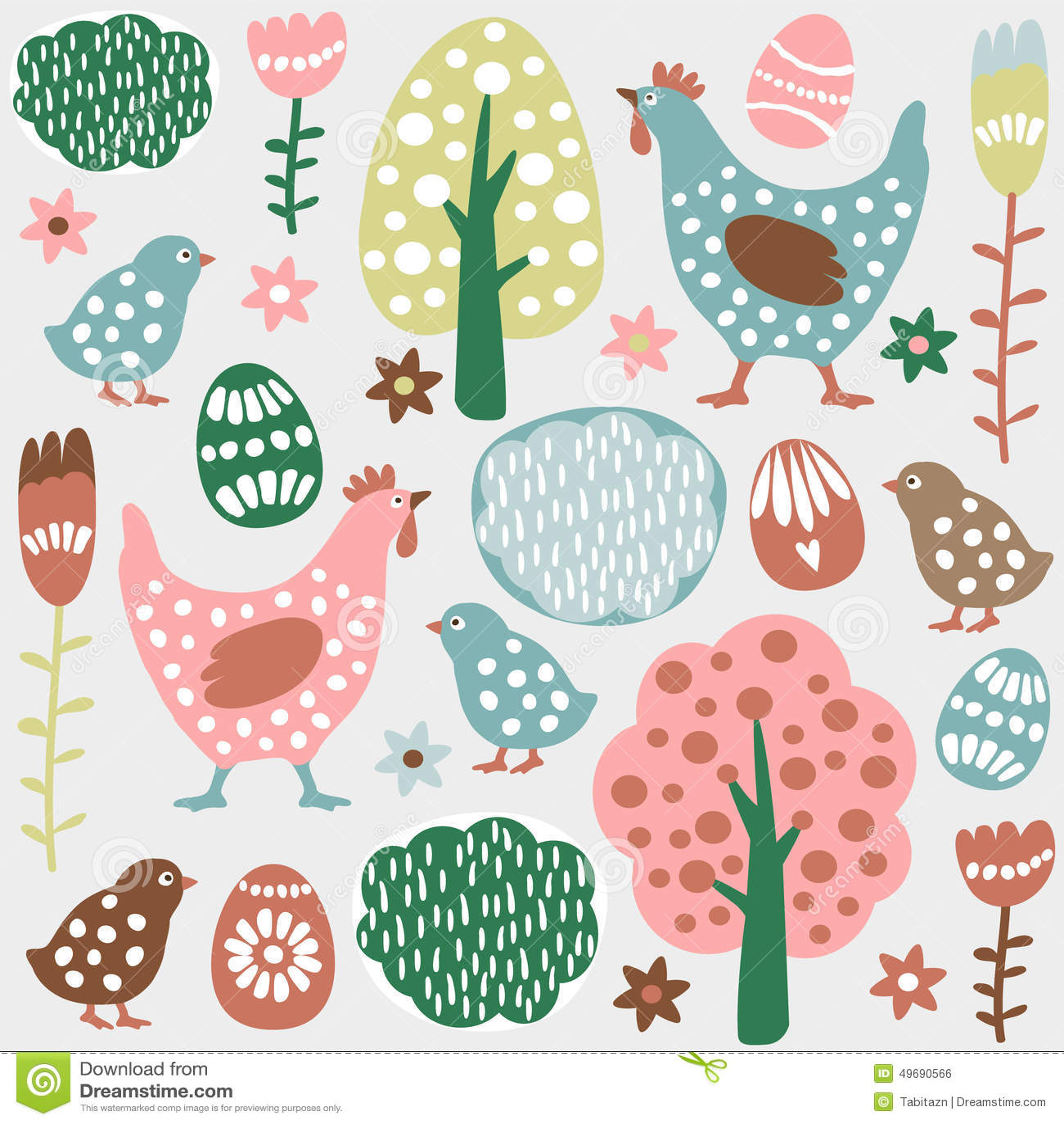 Modelo inconsútil colorido lindo de la primavera de pascua, huevos, gallinas
