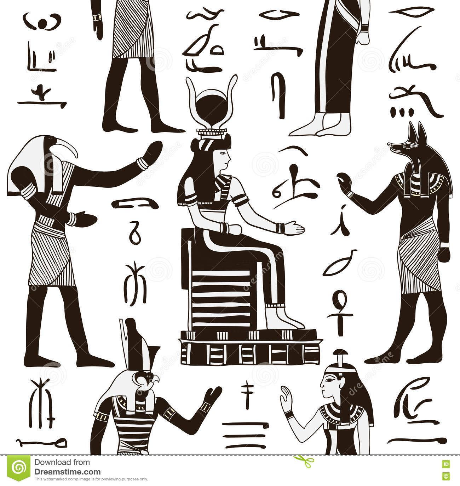 Modelo Inconsútil Con Dioses Egipcios Y Los Jeroglíficos Egipcios