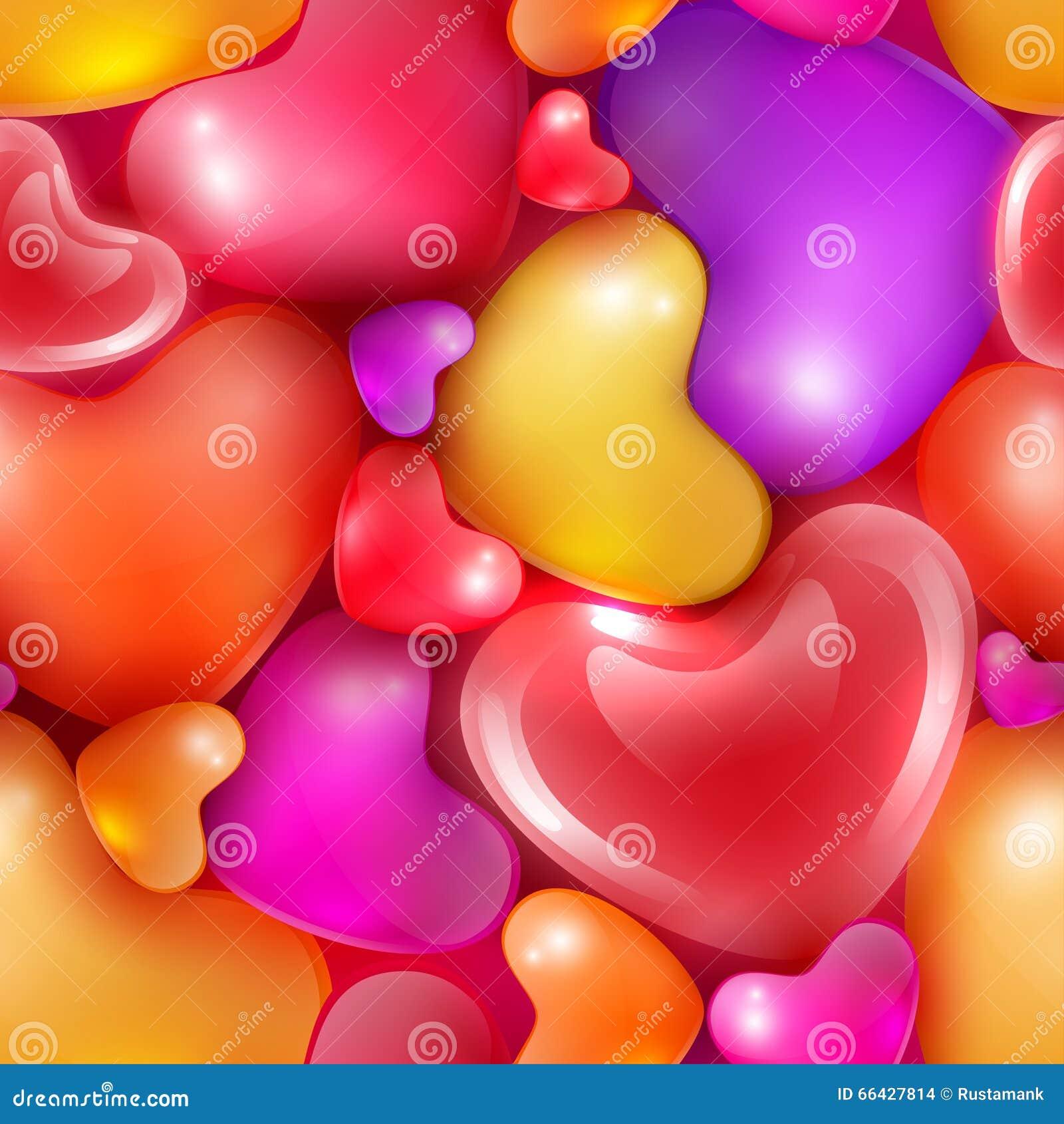 Modelo inconsútil con diversos corazones clasificados al día de tarjeta del  día de San Valentín feliz c8baa770aa1