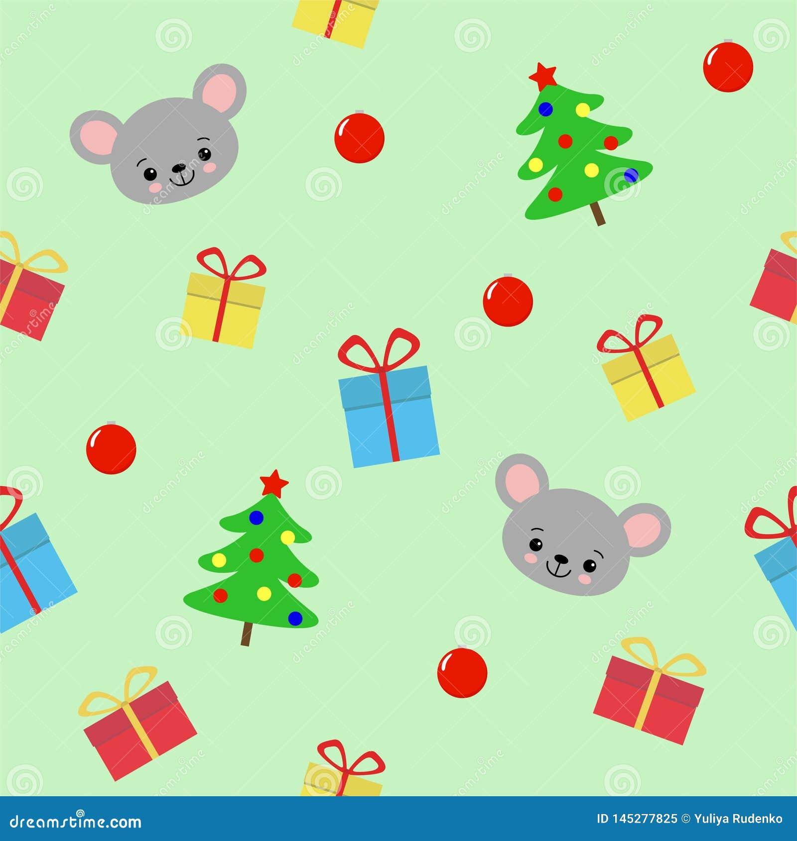 Modelo incons?til con el ?rbol de los hristmas, los regalos y el rat?n lindo en el fondo verde - ejemplo del vector, EPS