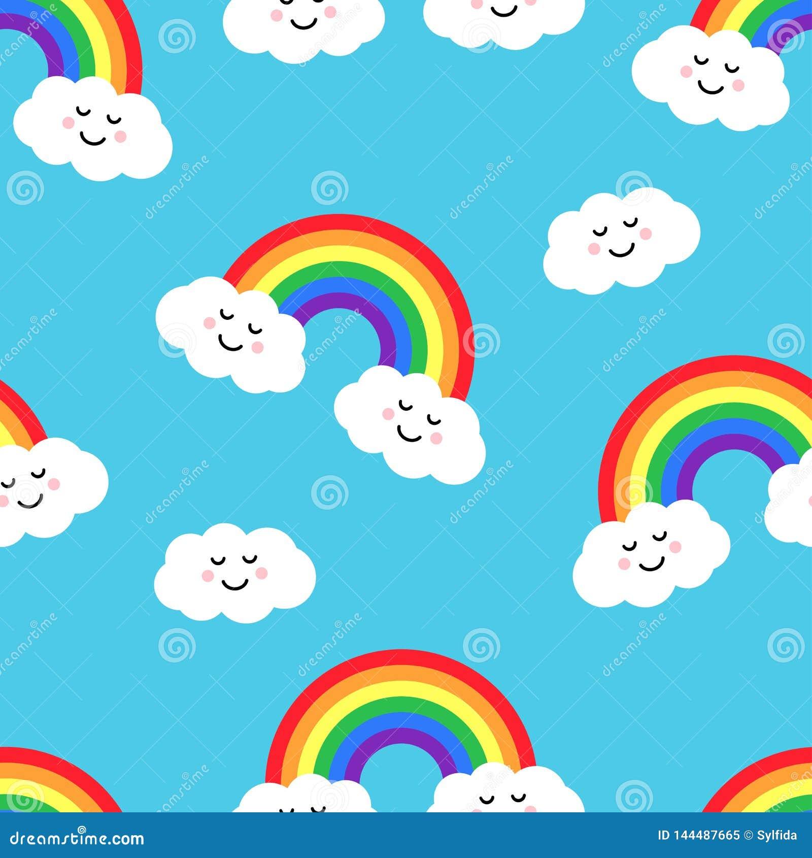 Modelo inconsútil con el arco iris y las nubes Ilustración del vector