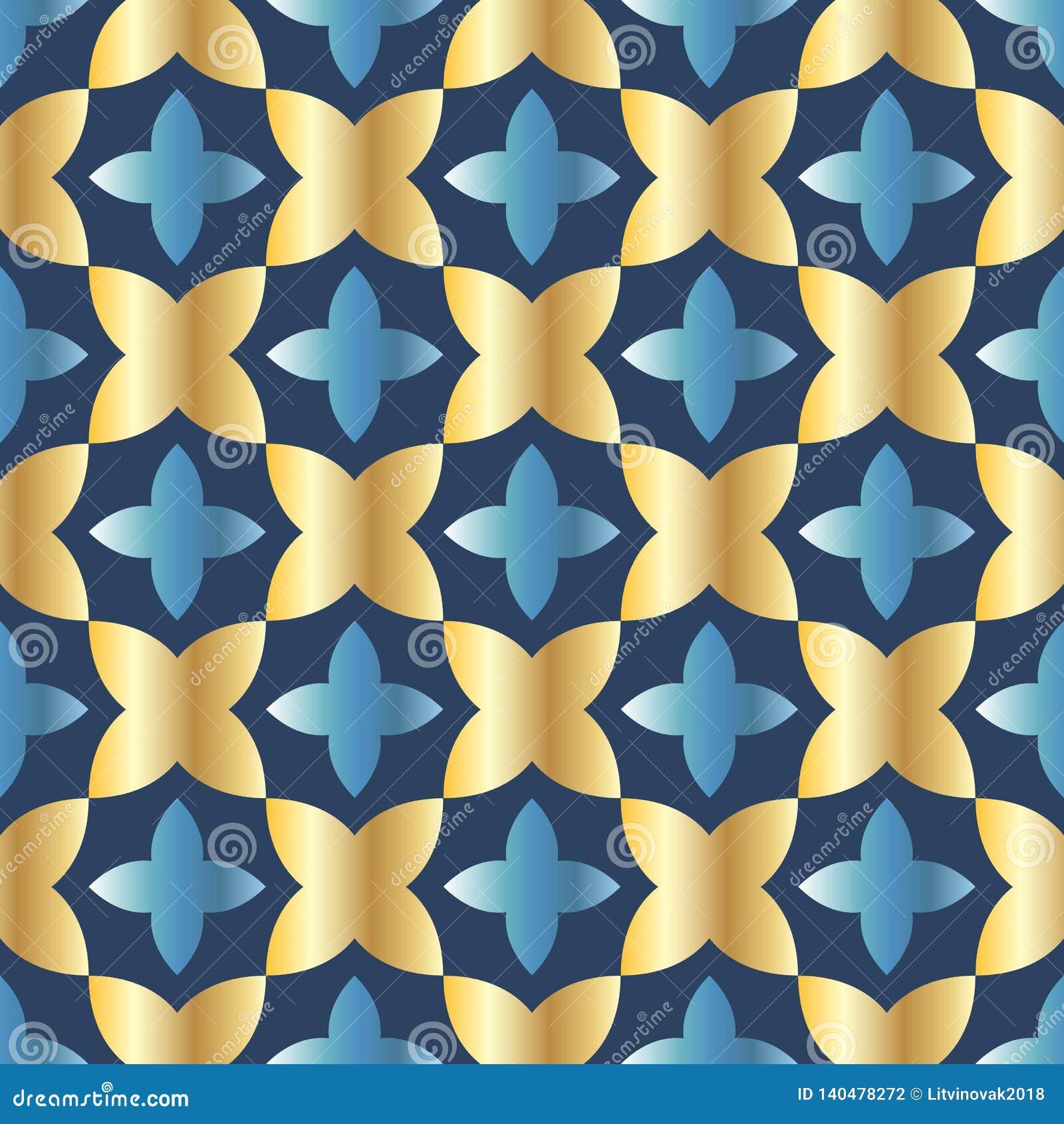 Modelo inconsútil con el arreglo pedido de formas geométricas abstractas El ejemplo se hace en sombras del oro en fondo azul