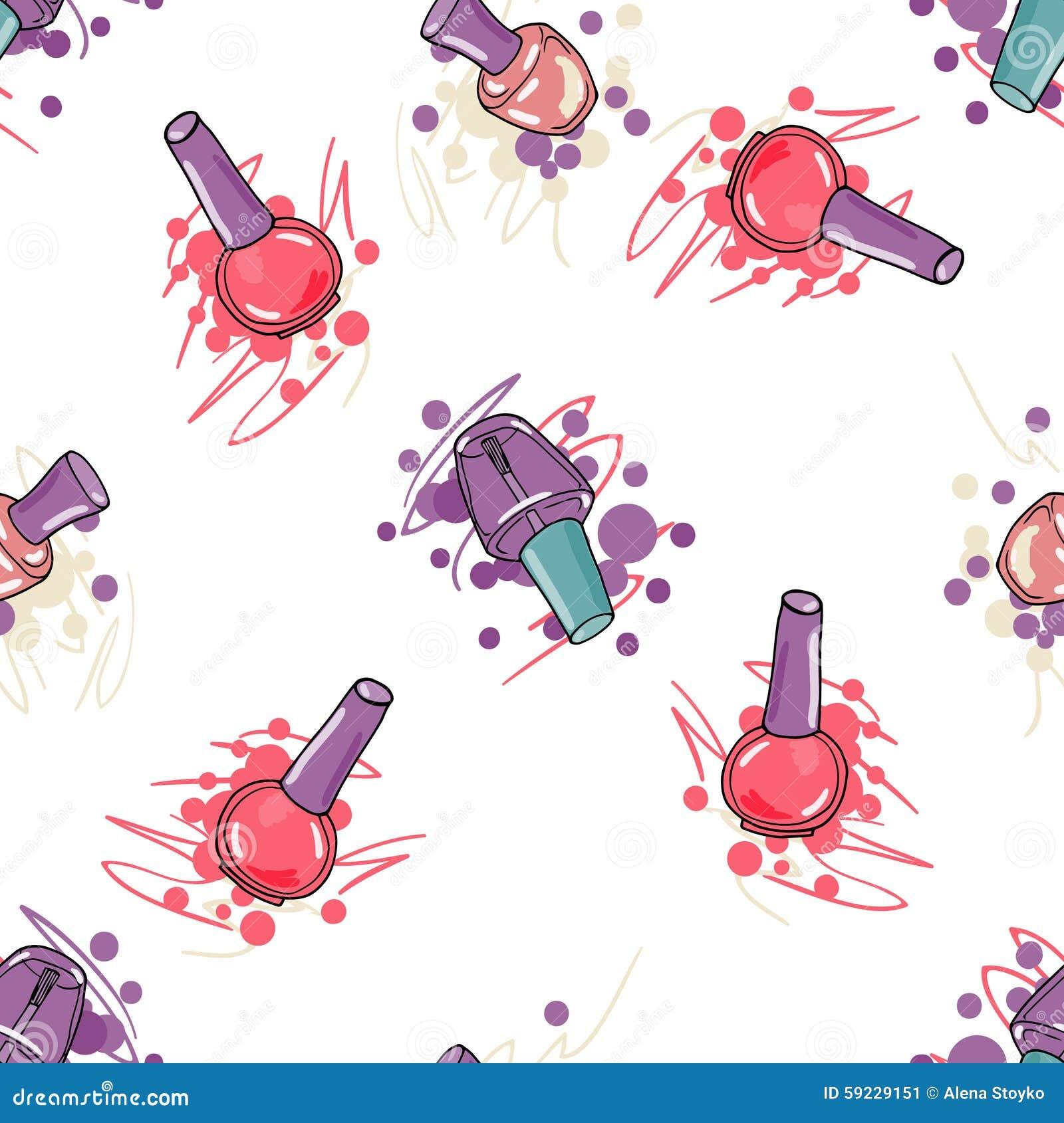 Download Modelo Inconsútil Con El Esmalte De Uñas Ilustración del Vector - Ilustración de fondo, diversión: 59229151