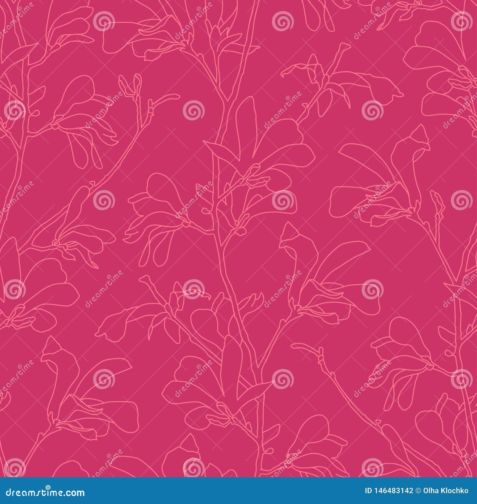 Modelo inconsútil con el flor del árbol de la magnolia Fondo floral rosado con la flor de la rama y de la magnolia Diseño de la p