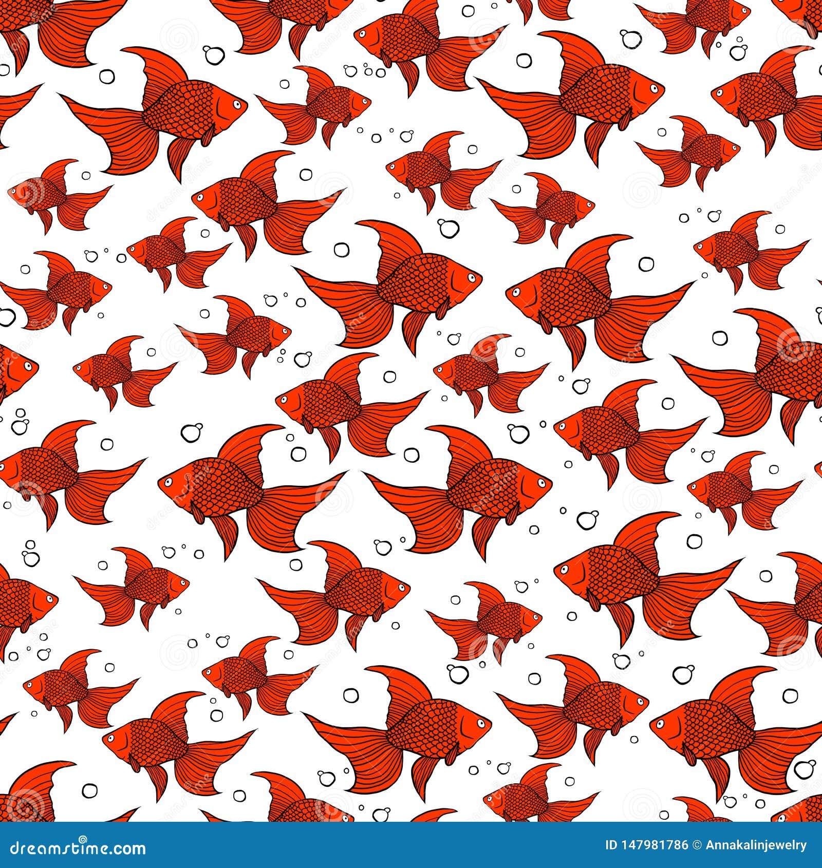 Modelo inconsútil con el pez de colores anaranjado