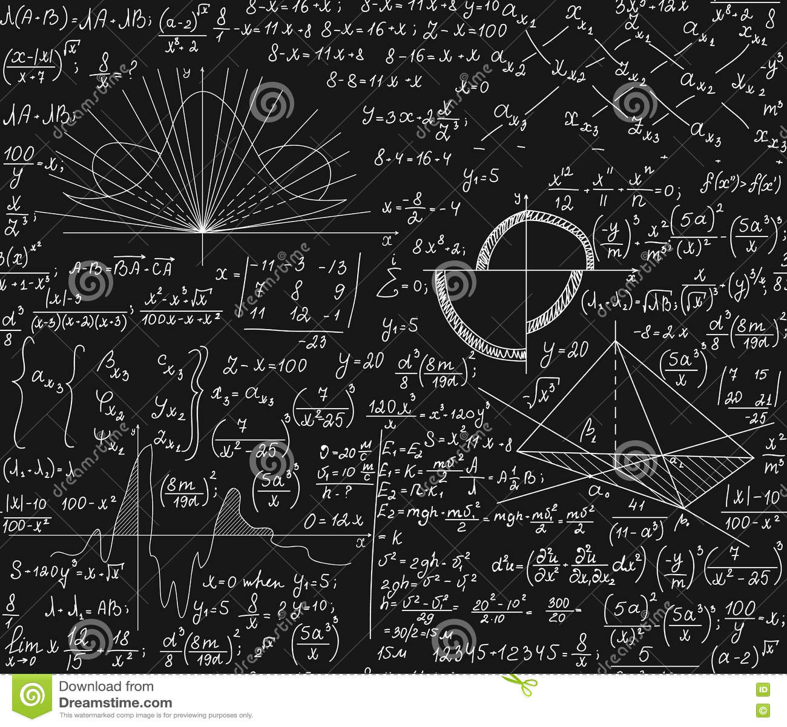 Modelo inconsútil con fórmulas matemáticas, investigación técnica, diagramas, ecuaciones, cálculos del vector de la matemáticas