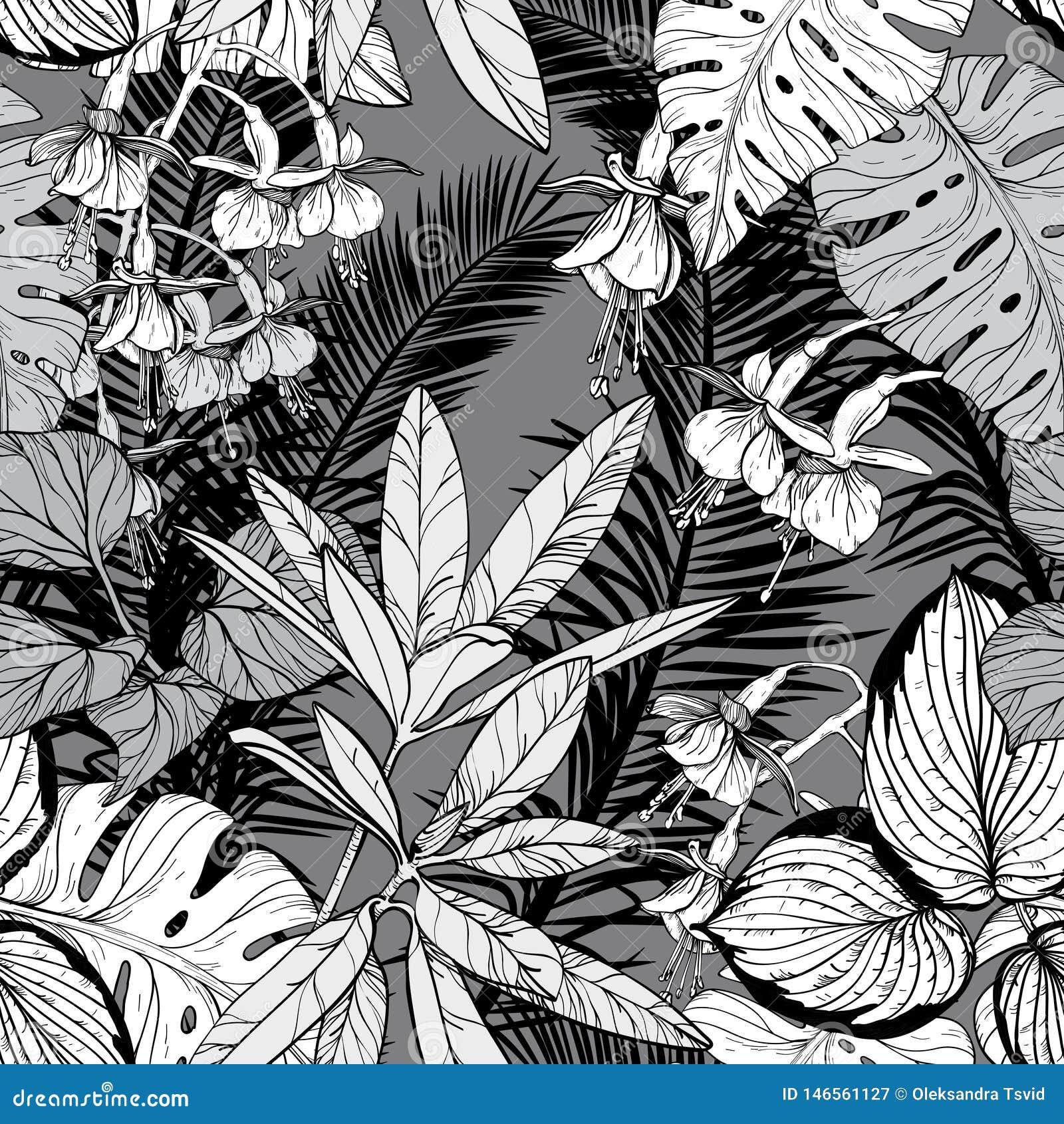 Modelo inconsútil con follaje, ramas y hojas Rebecca 36