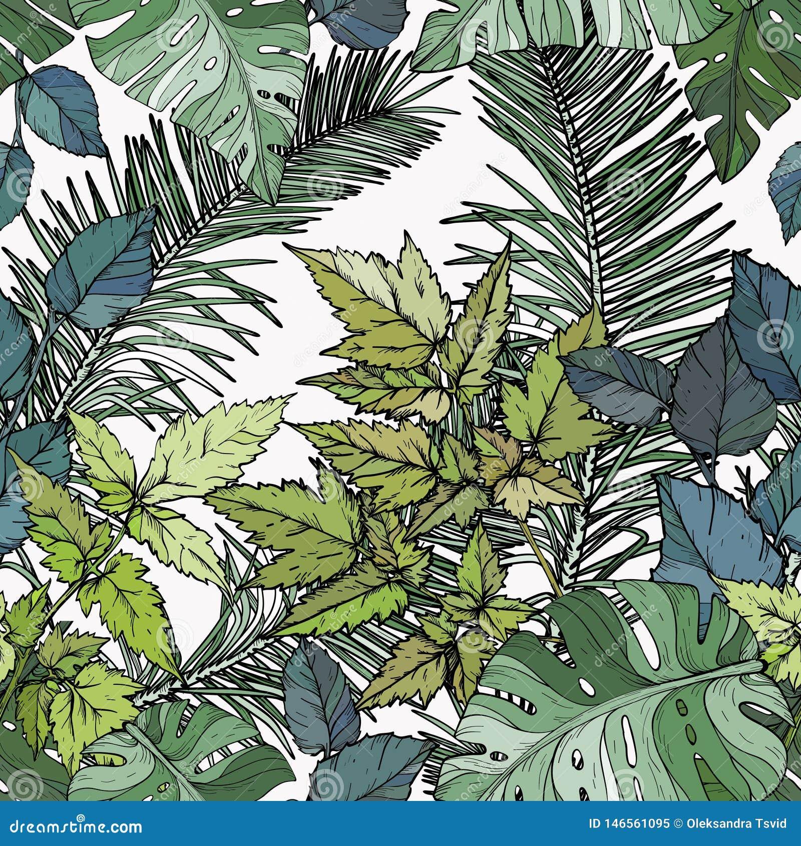 Modelo inconsútil con follaje, ramas y hojas verdes