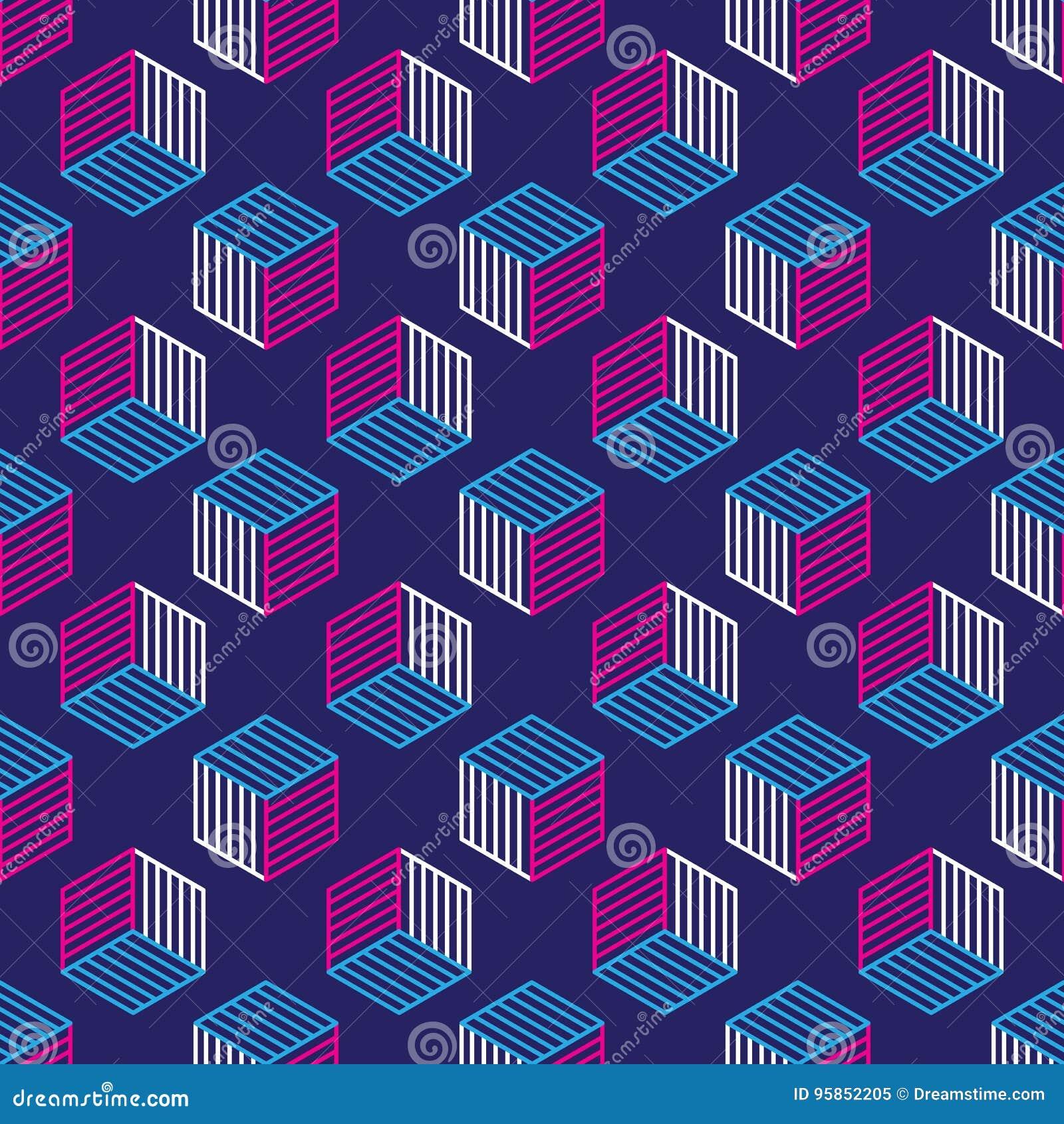 Modelo inconsútil con la línea cubos isométricos del estilo