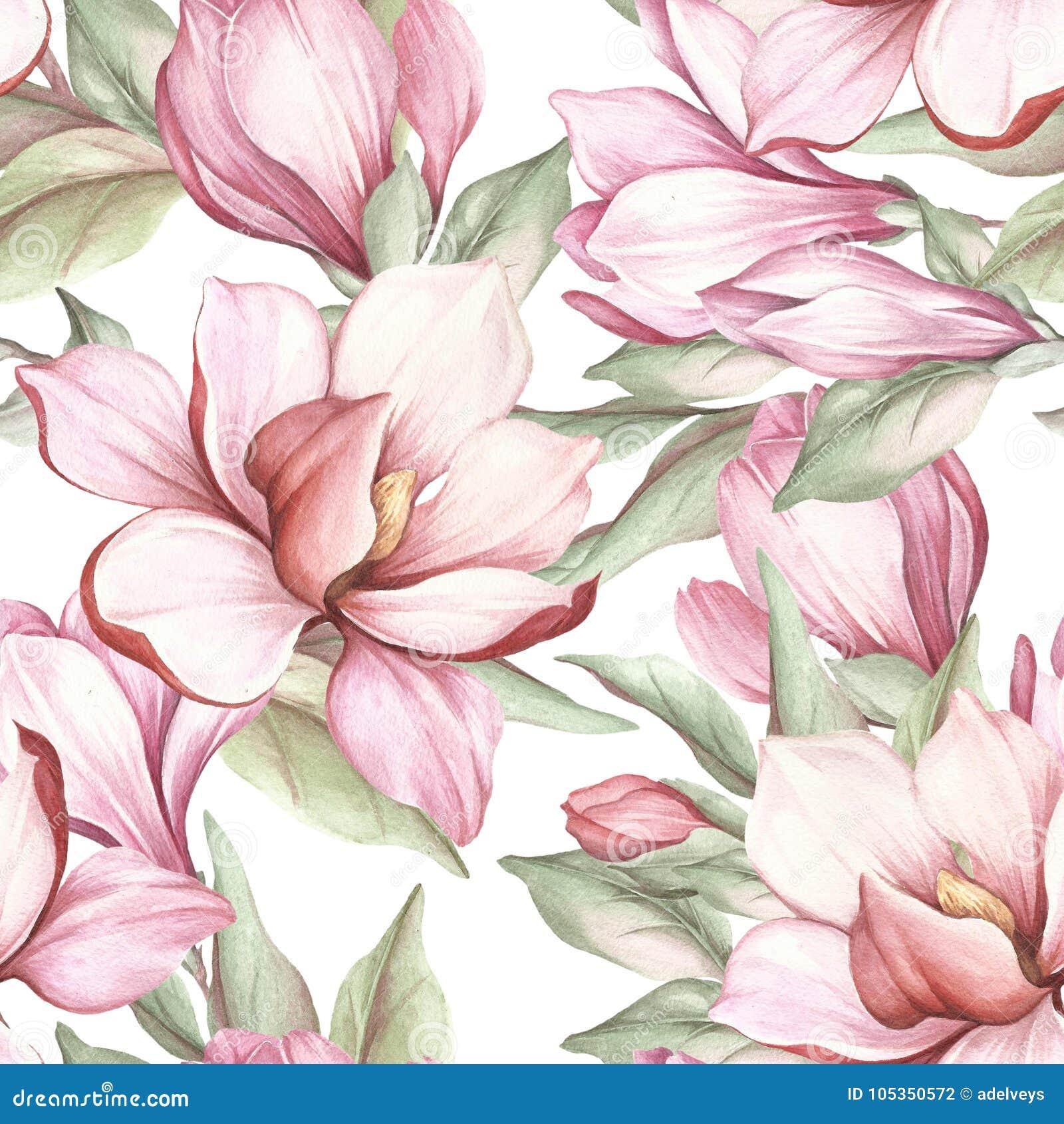 Modelo inconsútil con la magnolia floreciente Ilustración de la acuarela