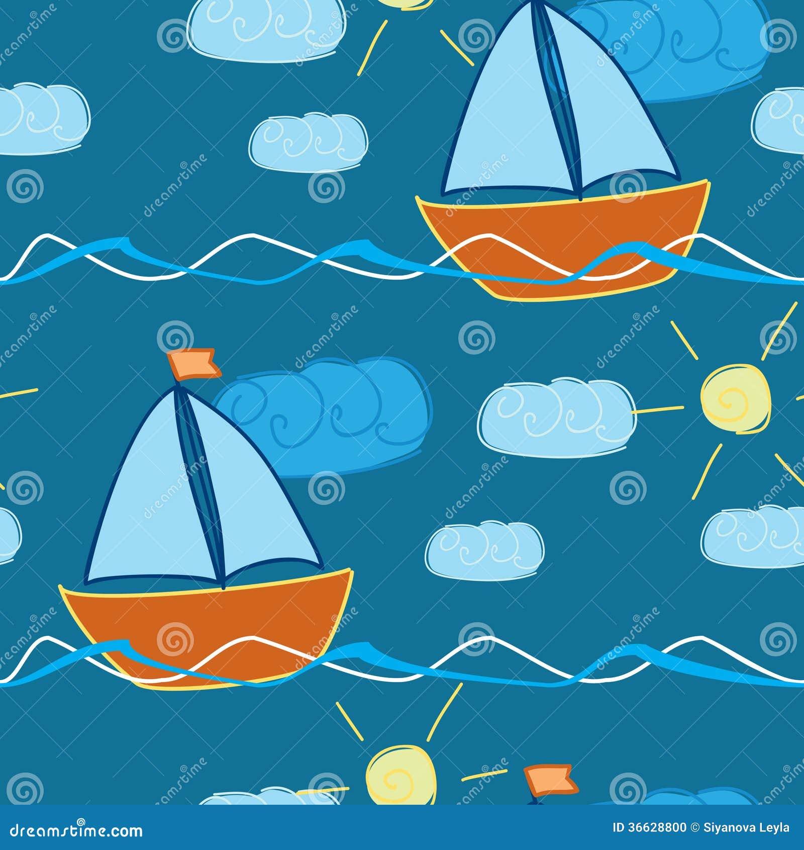 Modelo inconsútil con la nave dibujada mano en ondas
