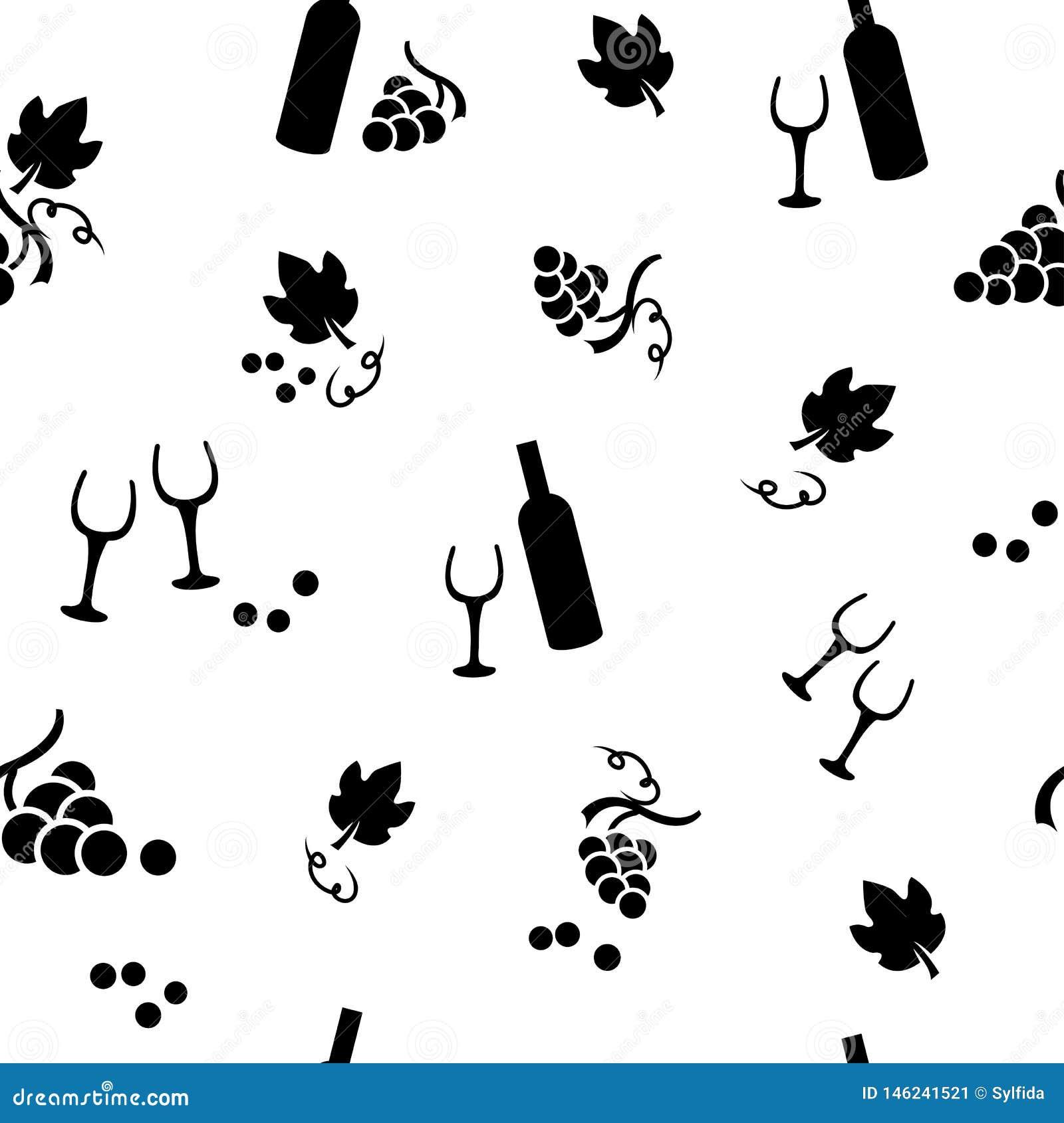 Modelo inconsútil con las botellas de las uvas, de las hojas, de la copa y de vino Ilustraci?n del vector
