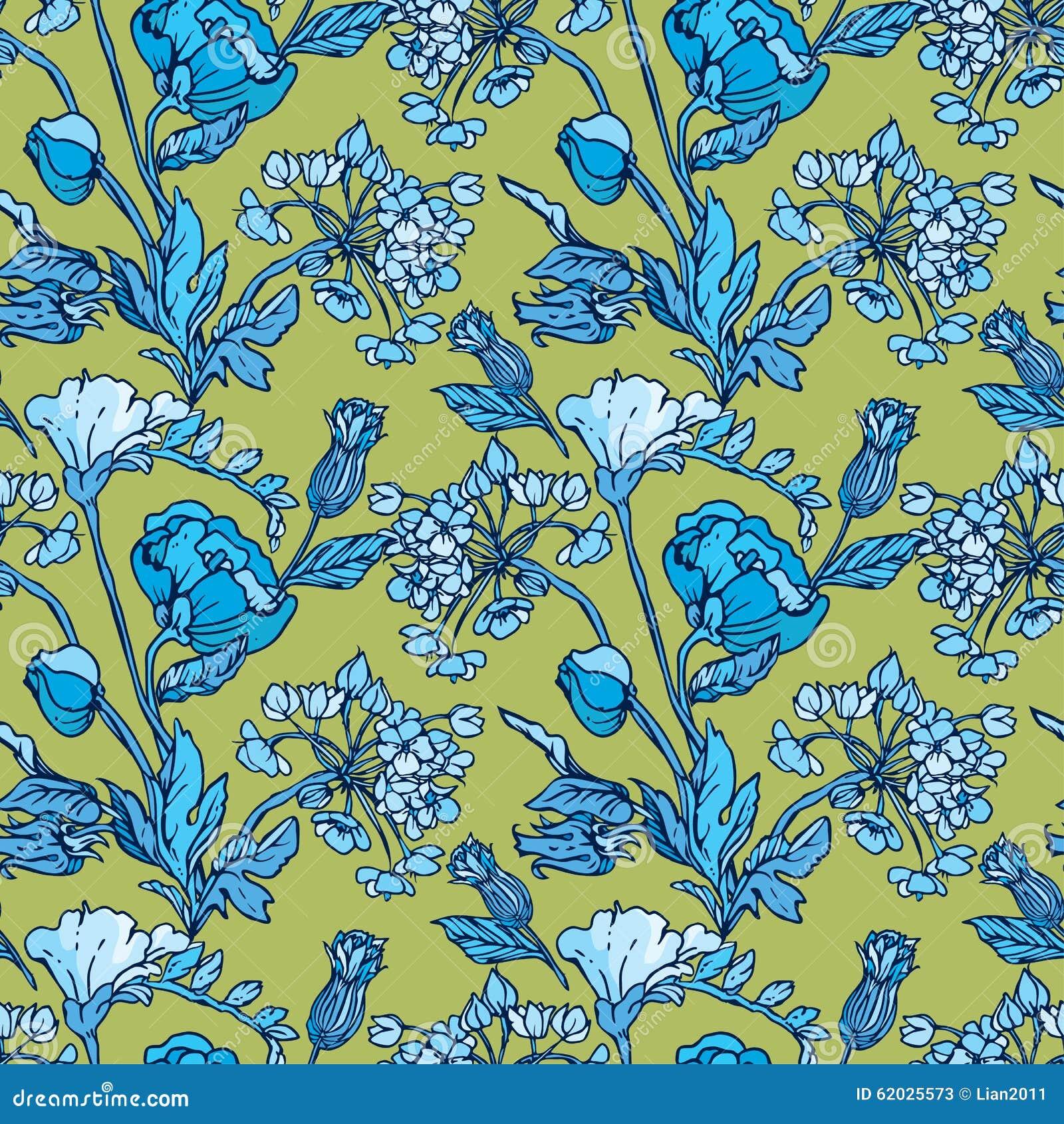 Modelo inconsútil con las flores - amapola y guisante de olor en colo azul