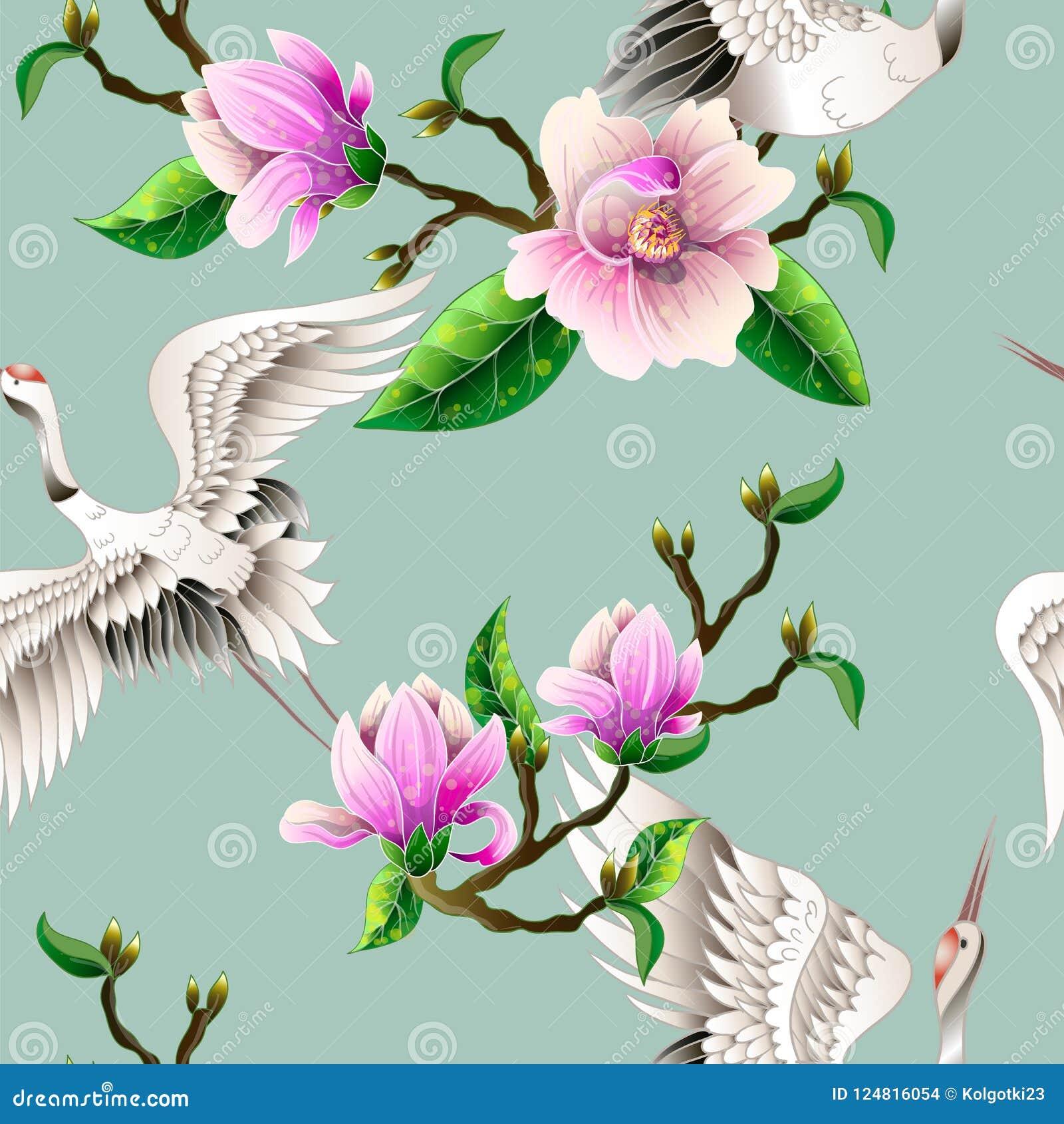 Modelo inconsútil con las flores de la magnolia y las grúas blancas japonesas Vector