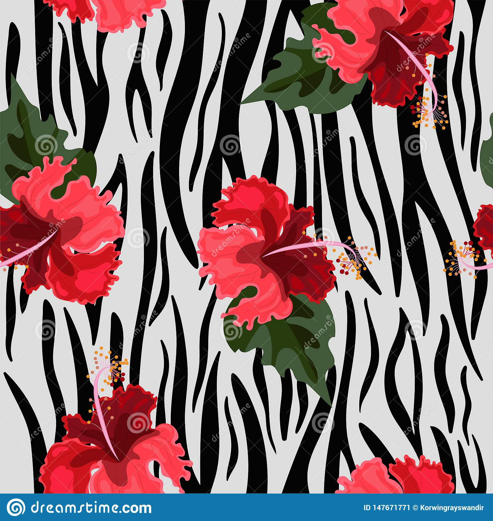 Modelo inconsútil con las flores de la piel y del hibisco del tigre Textura del vector