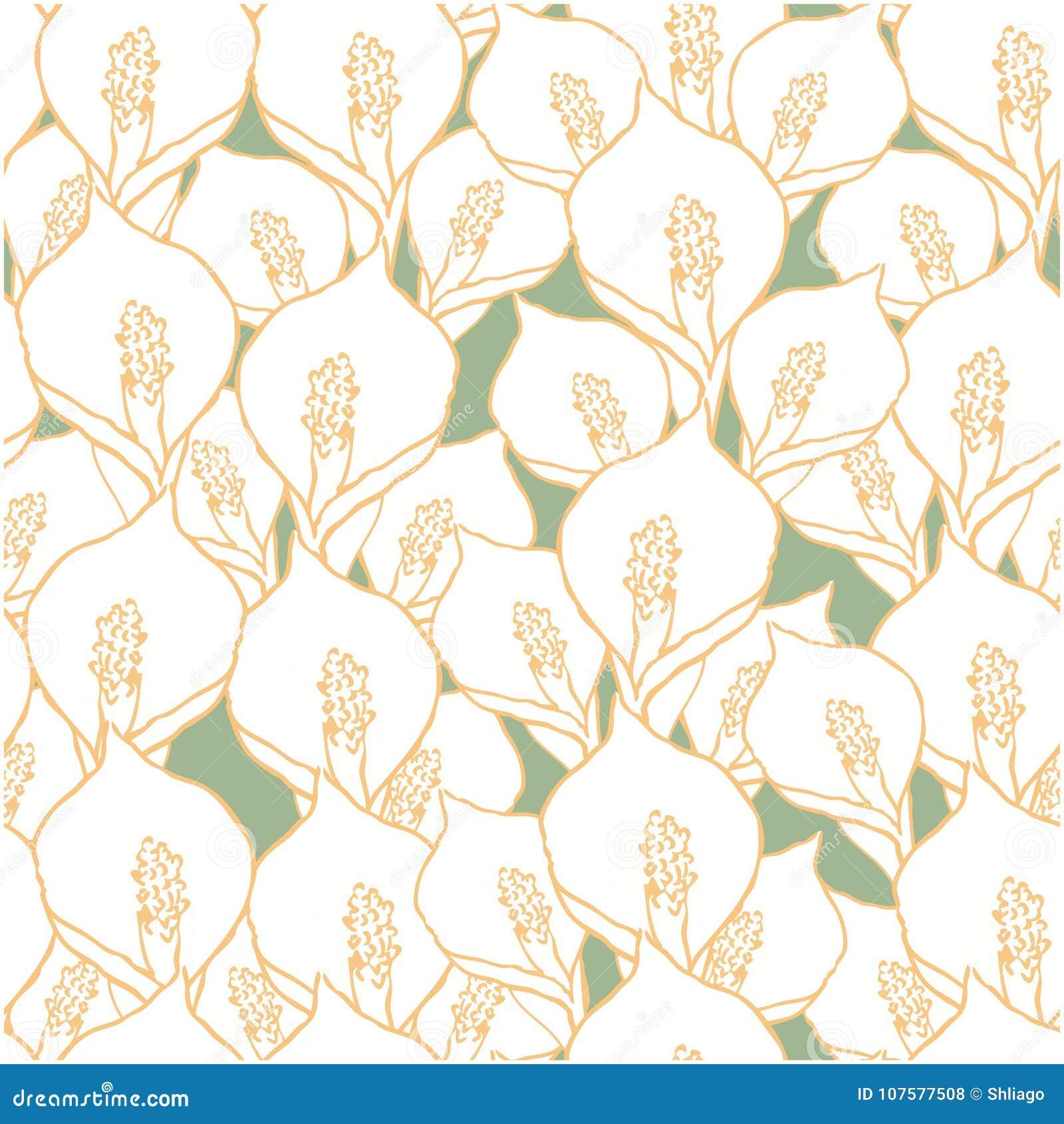 Modelo inconsútil con las flores del spathiphyllum en verde