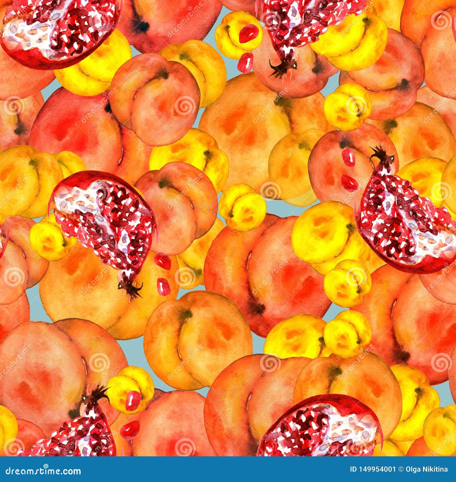 Modelo inconsútil con las frutas de las rebanadas, fruta de la granada, fruta del melocotón, ciruelo, albaricoque, sandía de la a
