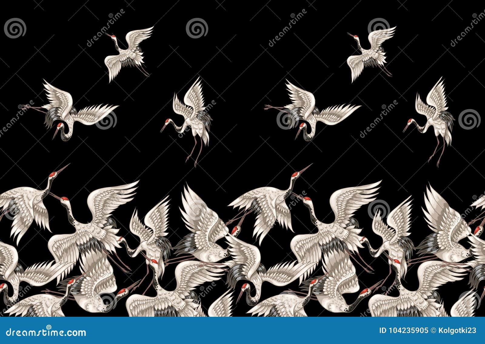 Modelo inconsútil con las grúas blancas japonesas en diversas actitudes para su bordado del diseño, materias textiles, imprimiend