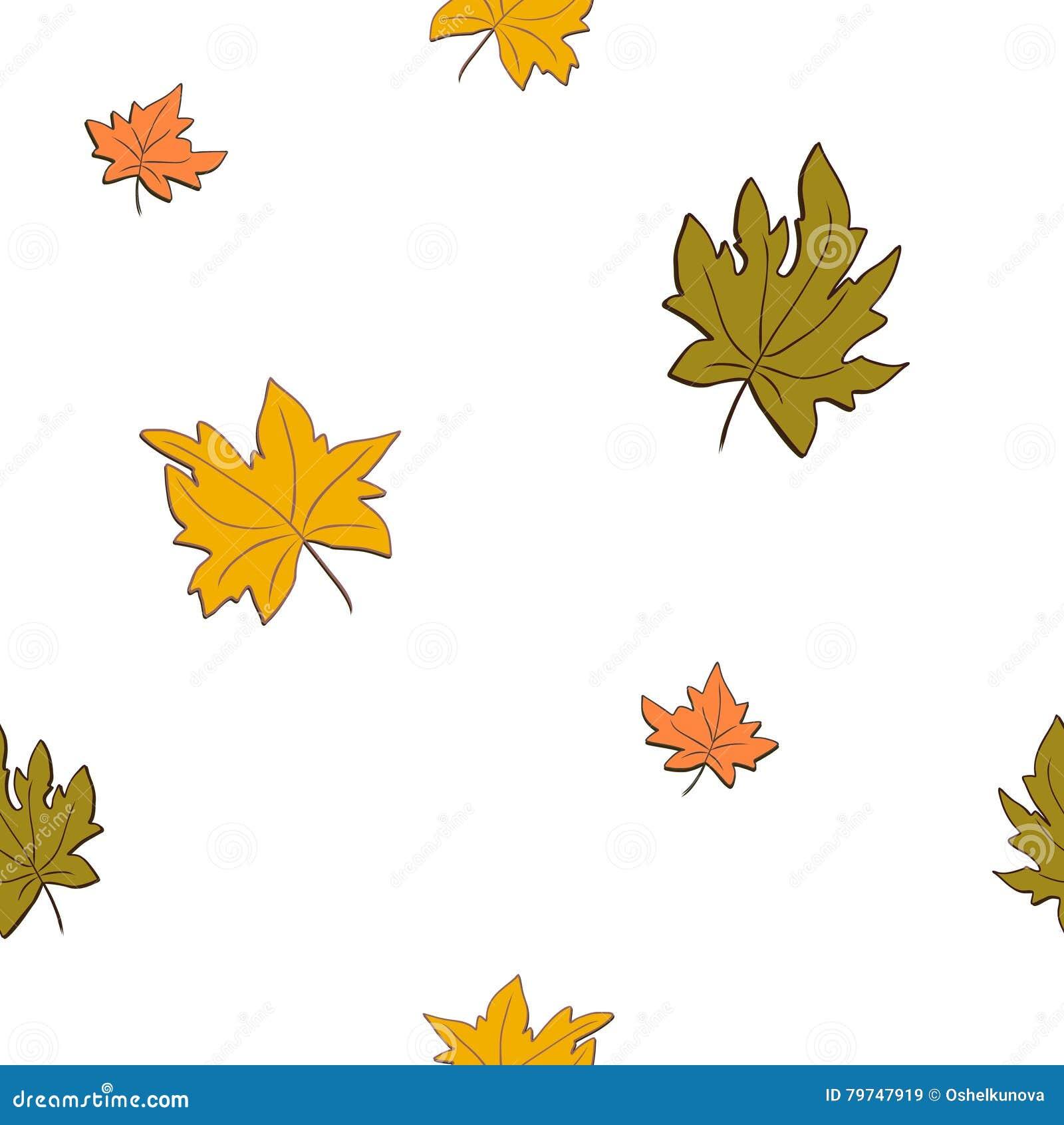 Modelo inconsútil con las hojas de otoño