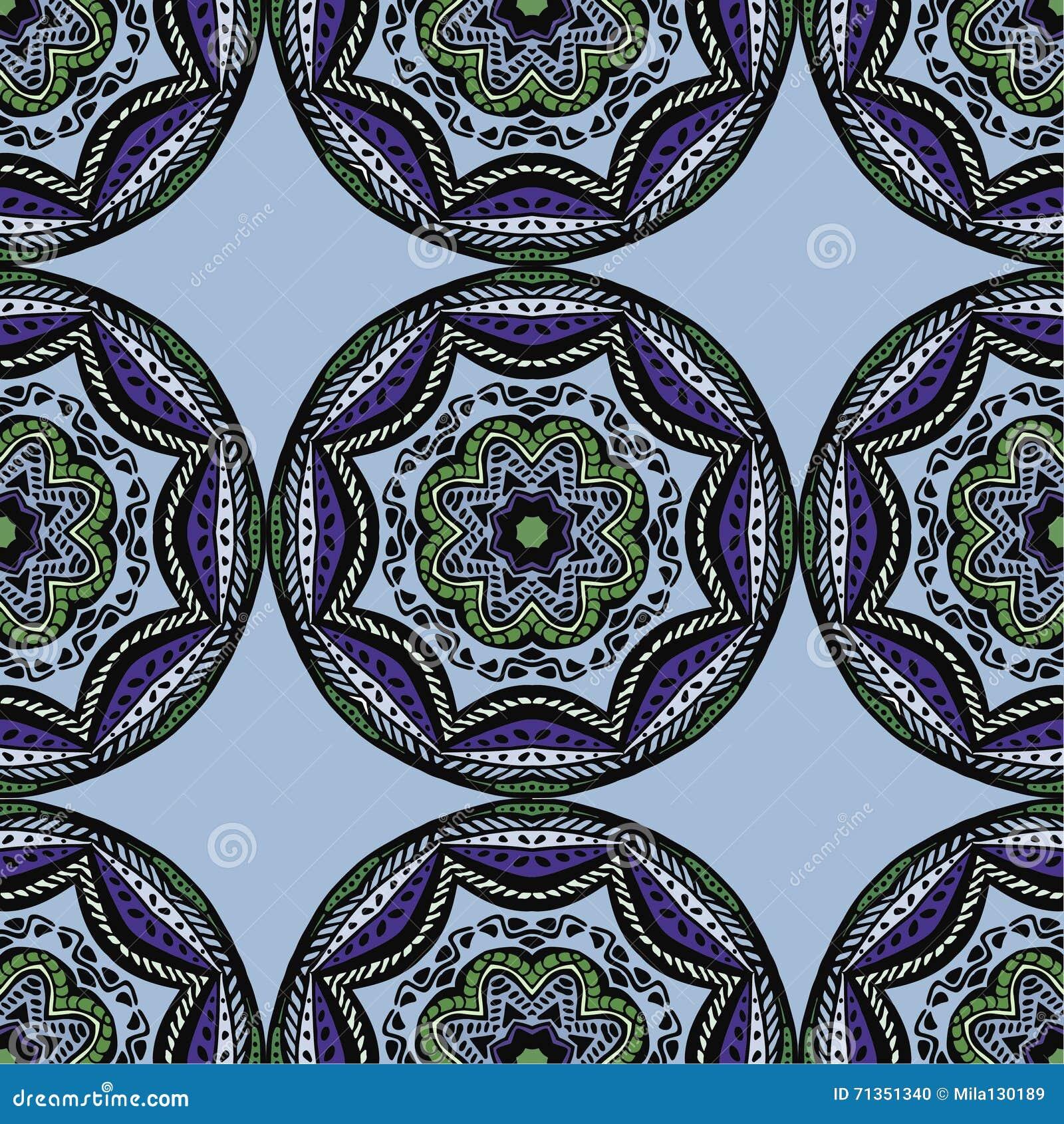 Modelo Inconsútil Con Las Mandalas Hermosas Ilustración Del Vector