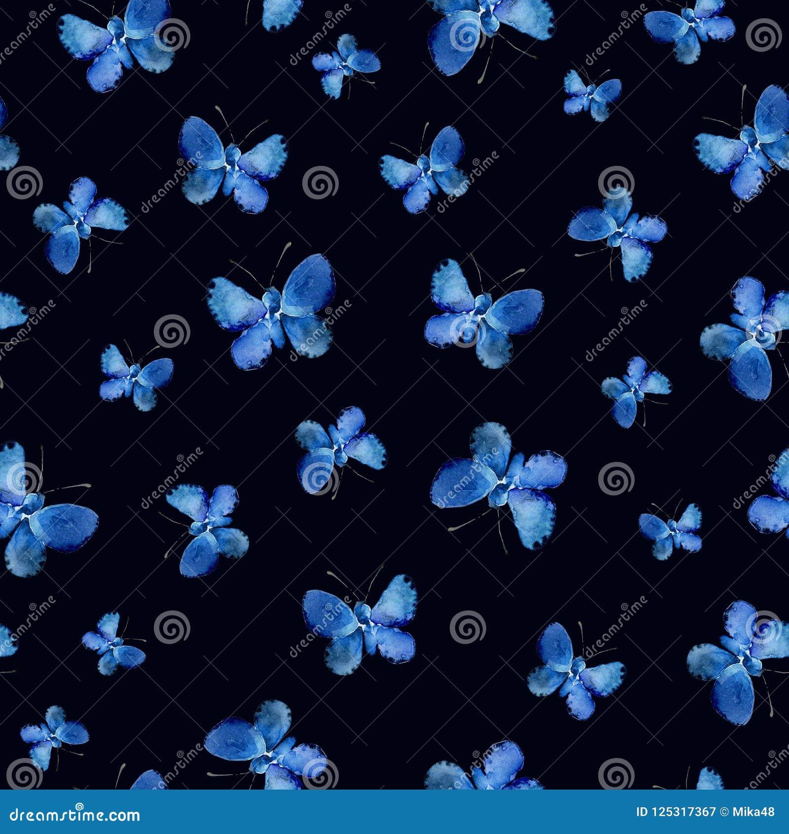 Modelo inconsútil con las mariposas azules