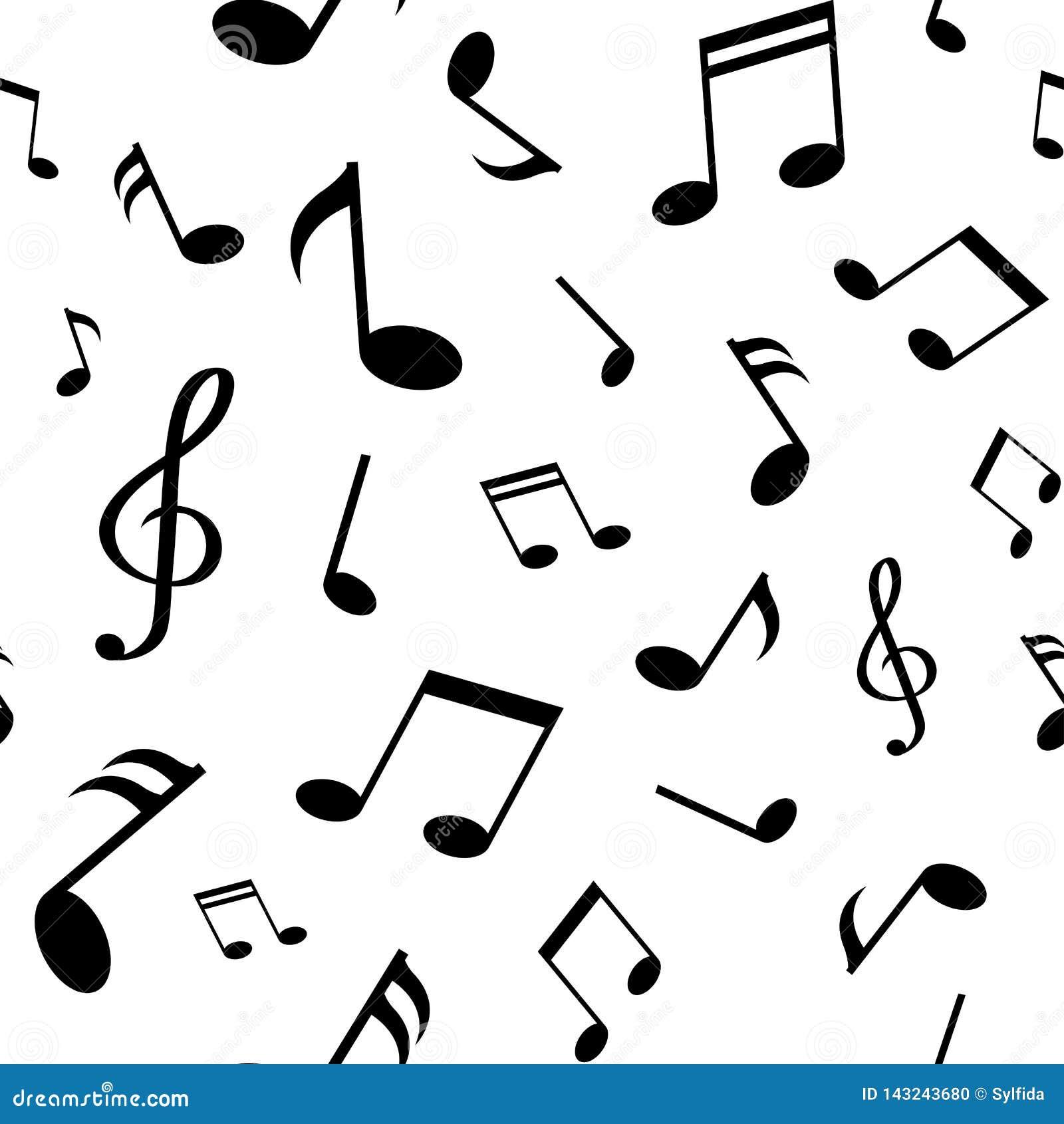 Modelo inconsútil con las notas negras de la música sobre el fondo blanco Ilustración del vector
