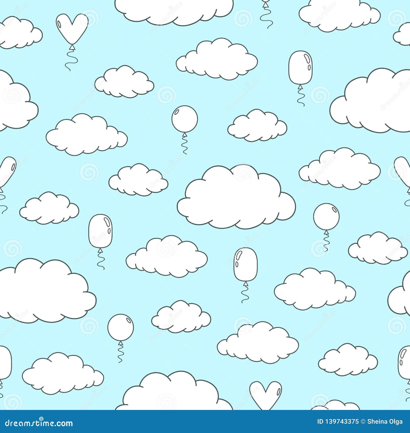 Modelo inconsútil con las nubes y los globos blancos y negros exhaustos de la mano en un fondo azul claro