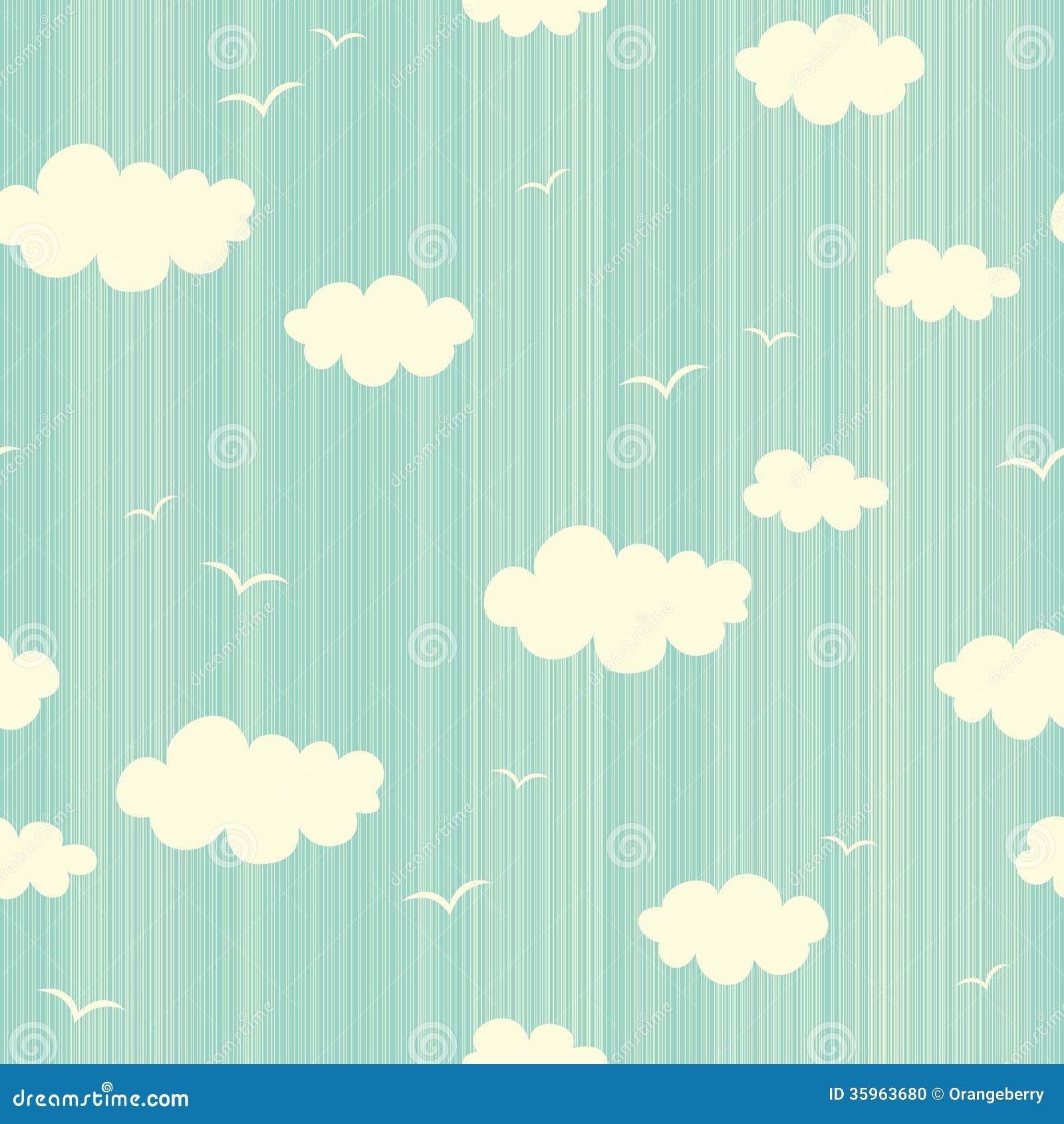 Modelo inconsútil con las nubes y los pájaros