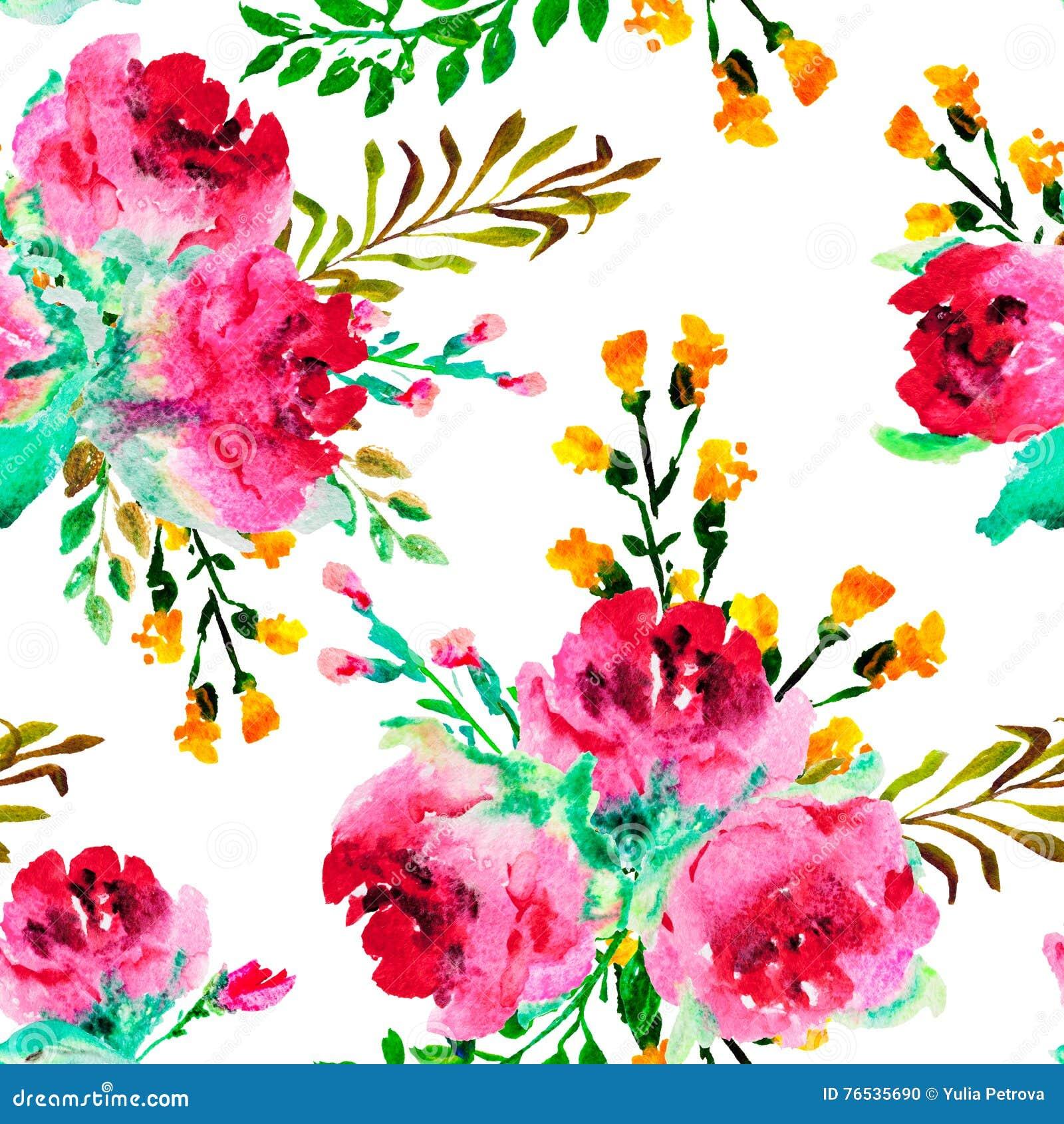 Modelo inconsútil con las rosas de la acuarela y otras flores