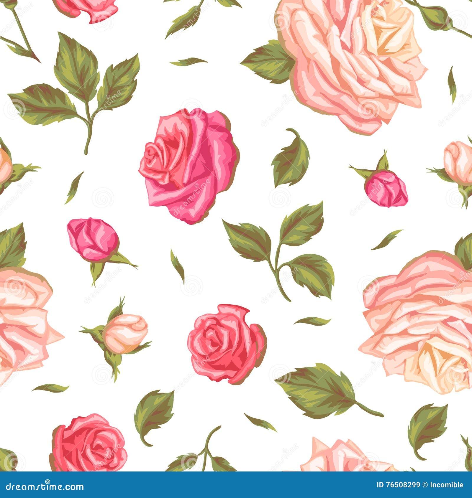 Modelo Inconsútil Con Las Rosas Del Vintage Flores Retras