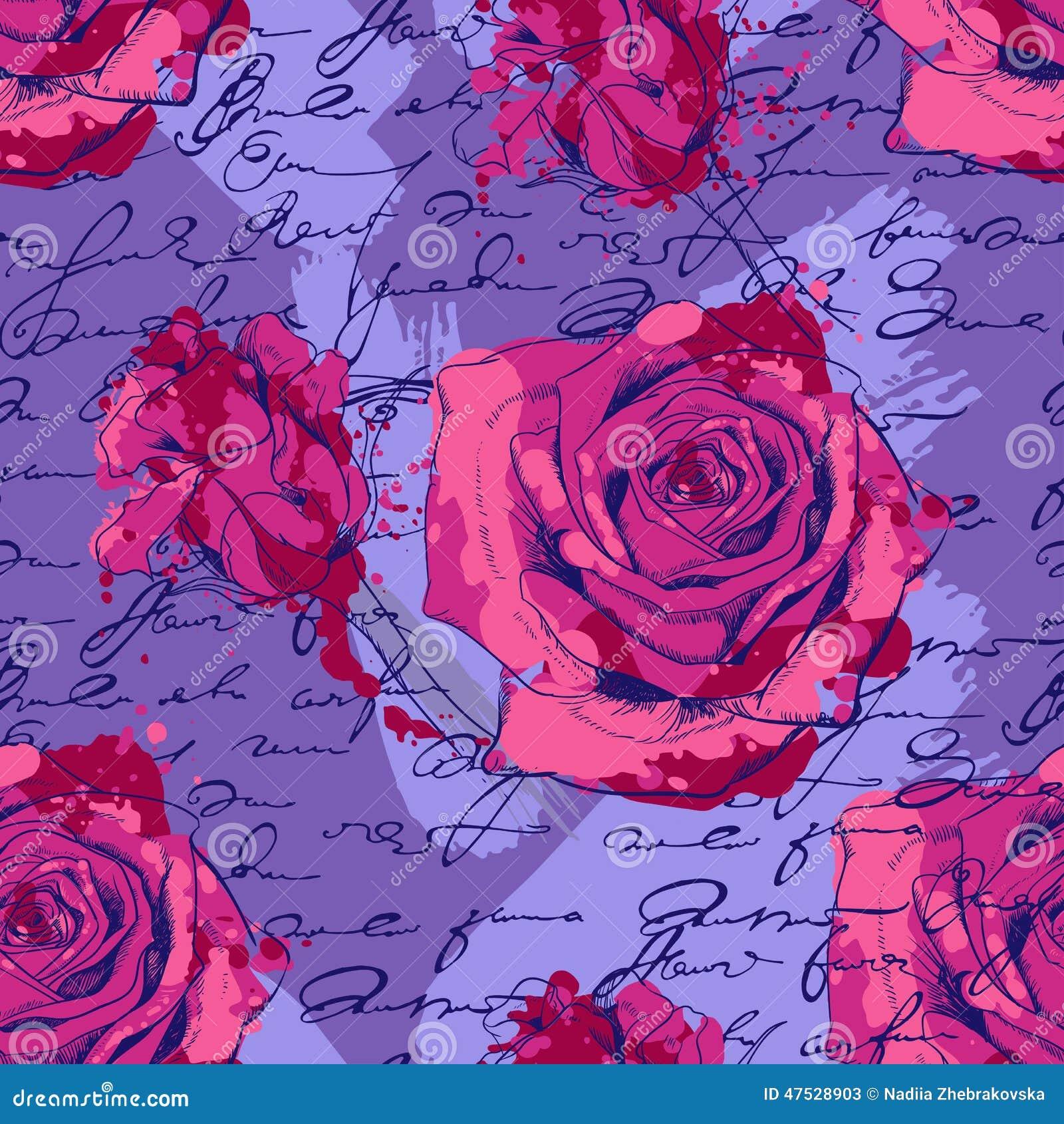 Modelo inconsútil con las rosas, escritura y