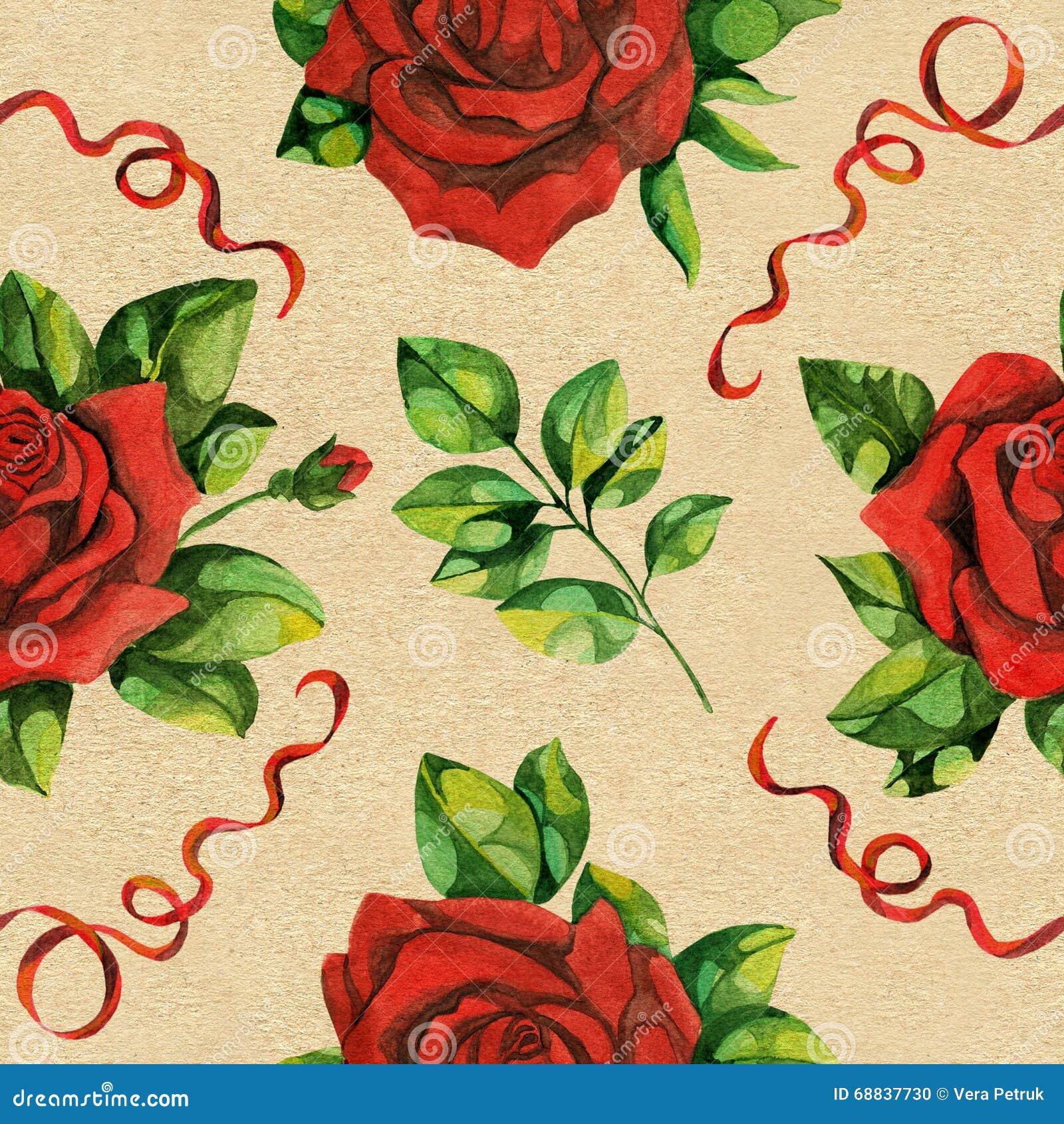Modelo inconsútil con las rosas rojas y el cordón