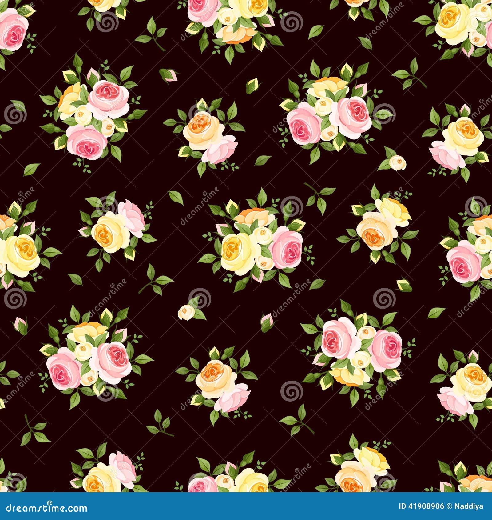 Modelo inconsútil con las rosas rosadas, anaranjadas y amarillas en marrón Ilustración del vector