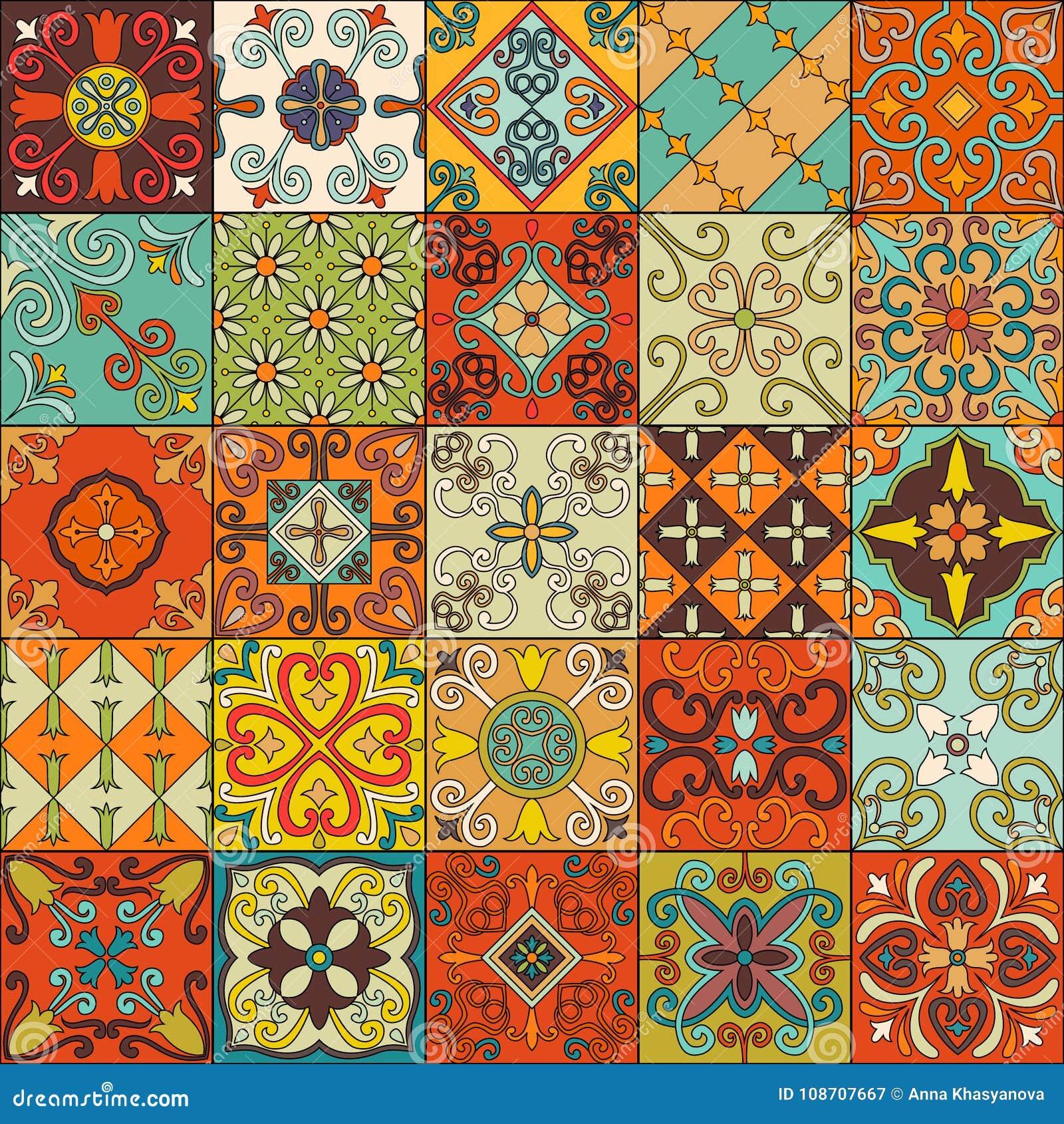 Modelo inconsútil con las tejas portuguesas en el estilo de Talavera Azulejo, marroquí, ornamentos mexicanos