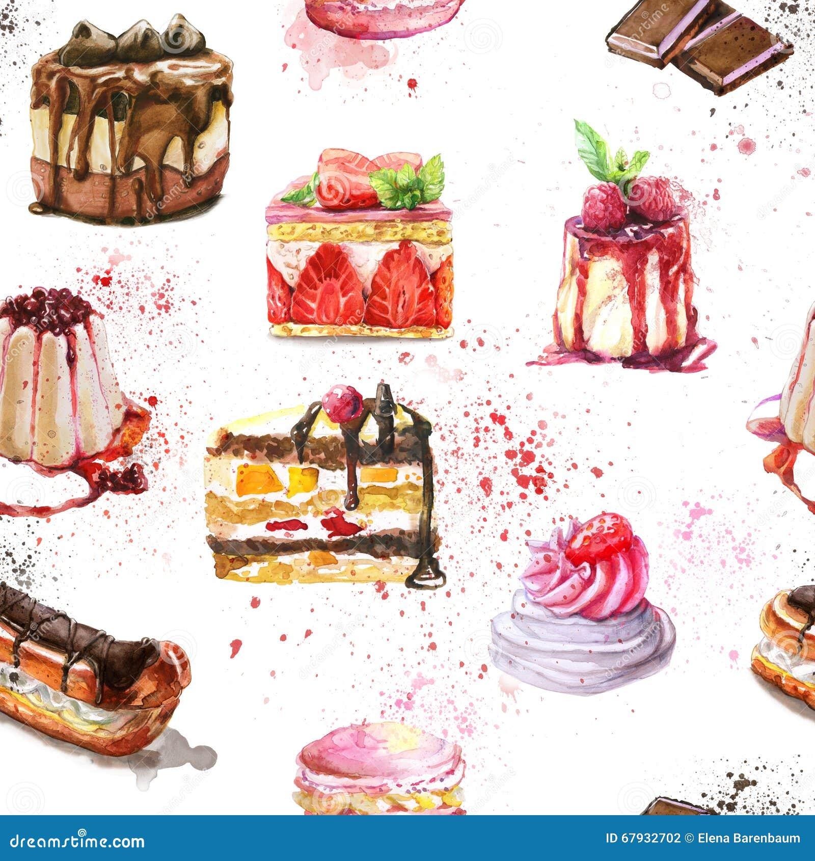 Modelo inconsútil con las tortas dulces de la acuarela y sabrosas pintadas a mano